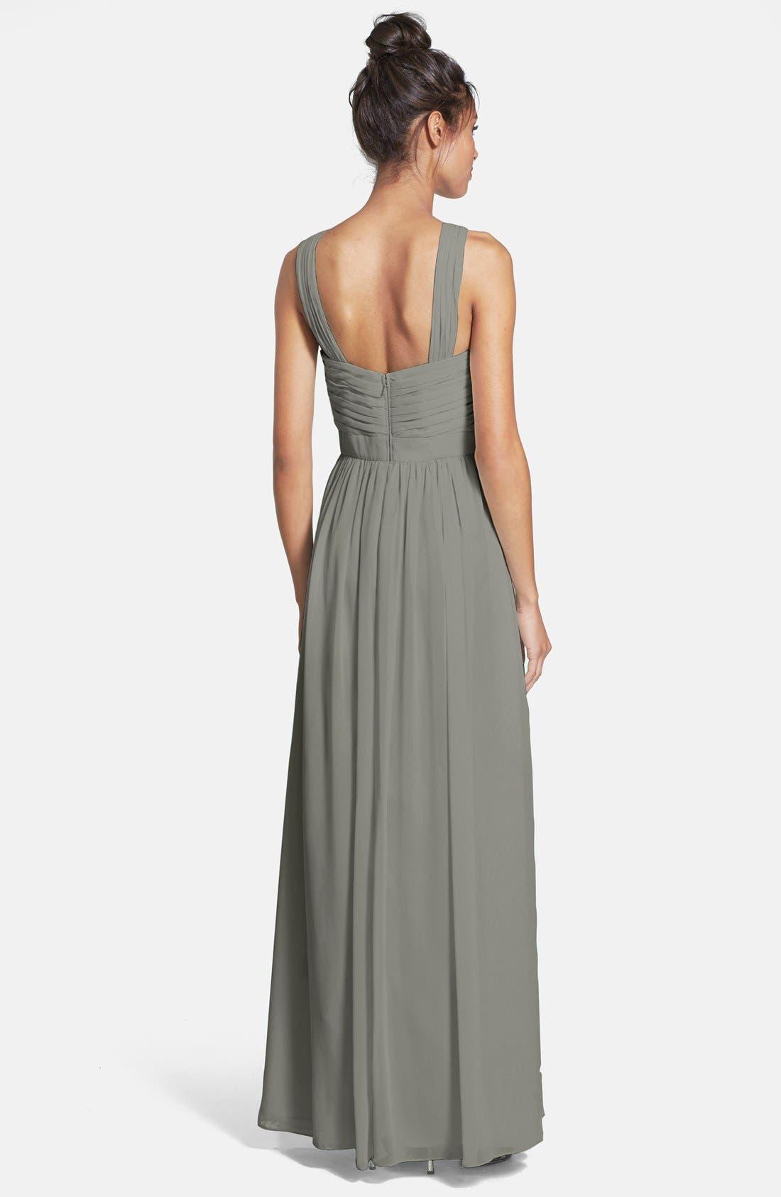 Alternate Image 2  - Monique Lhuillier Bridesmaids Crisscross Chiffon Gown (Nordstrom Exclusive)