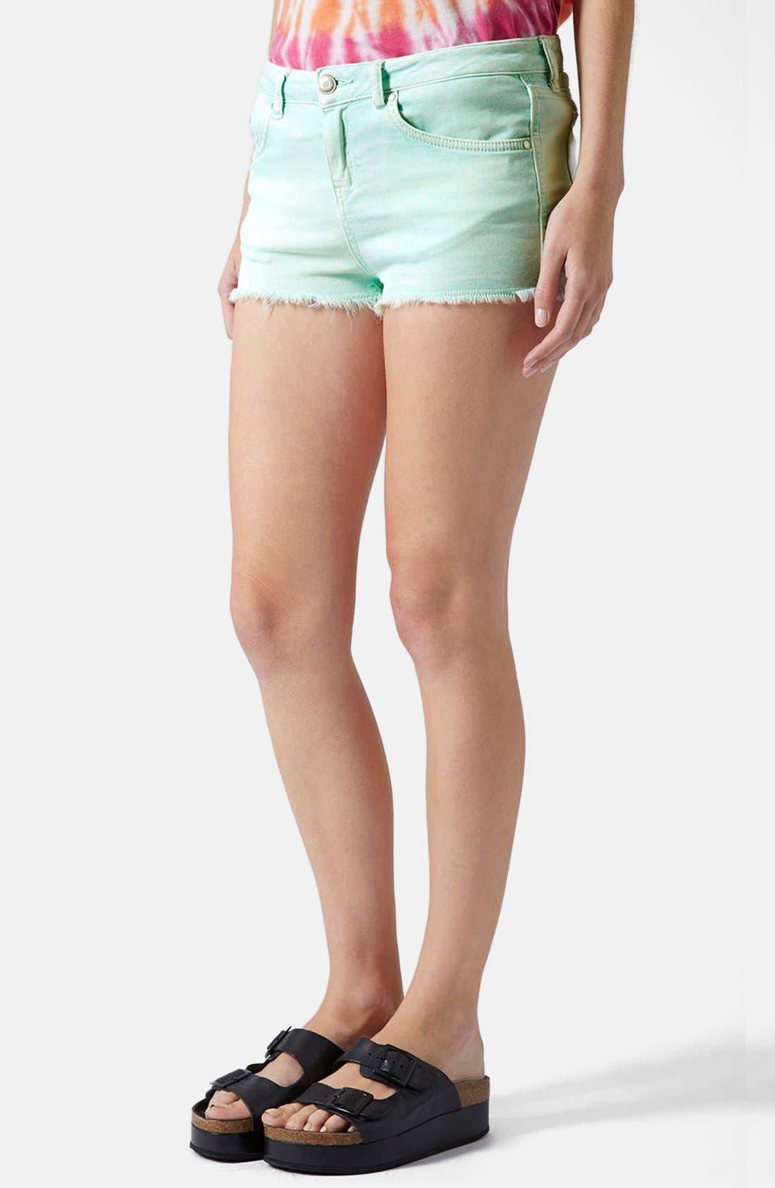 Main Image - Topshop Moto 'Daisy' Denim Cutoff Shorts (Mint)