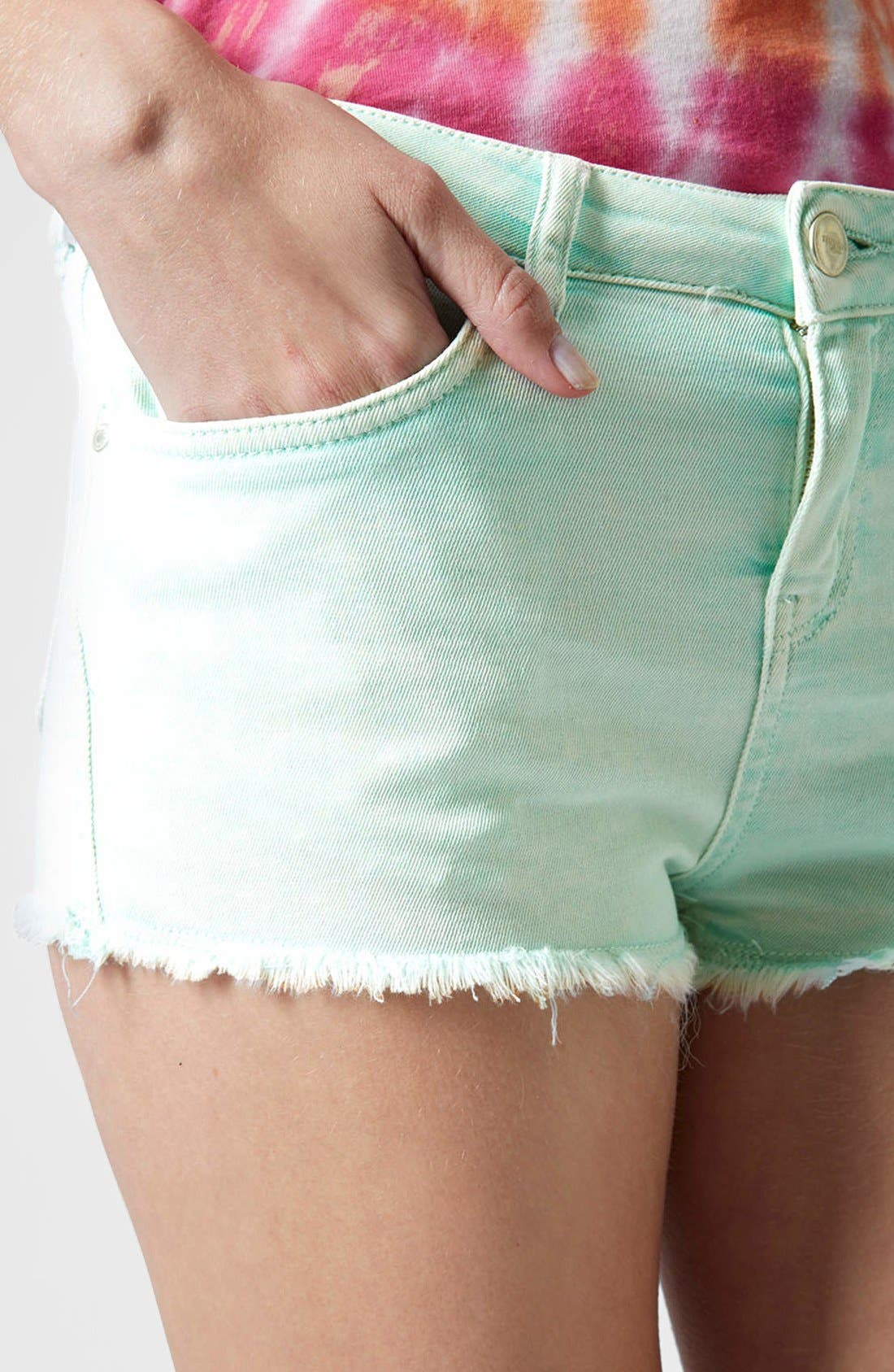 Alternate Image 4  - Topshop Moto 'Daisy' Denim Cutoff Shorts (Mint)
