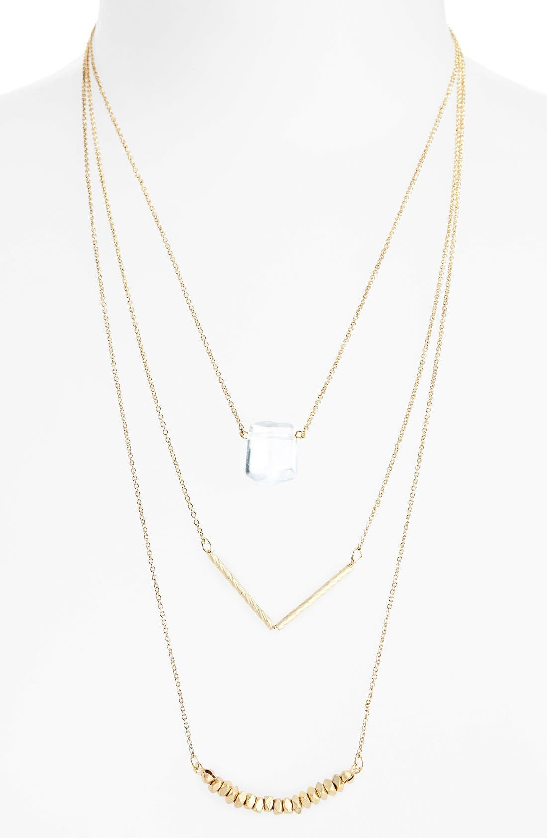 Alternate Image 1 Selected - Sole Society Layered Chain & Stone Necklace