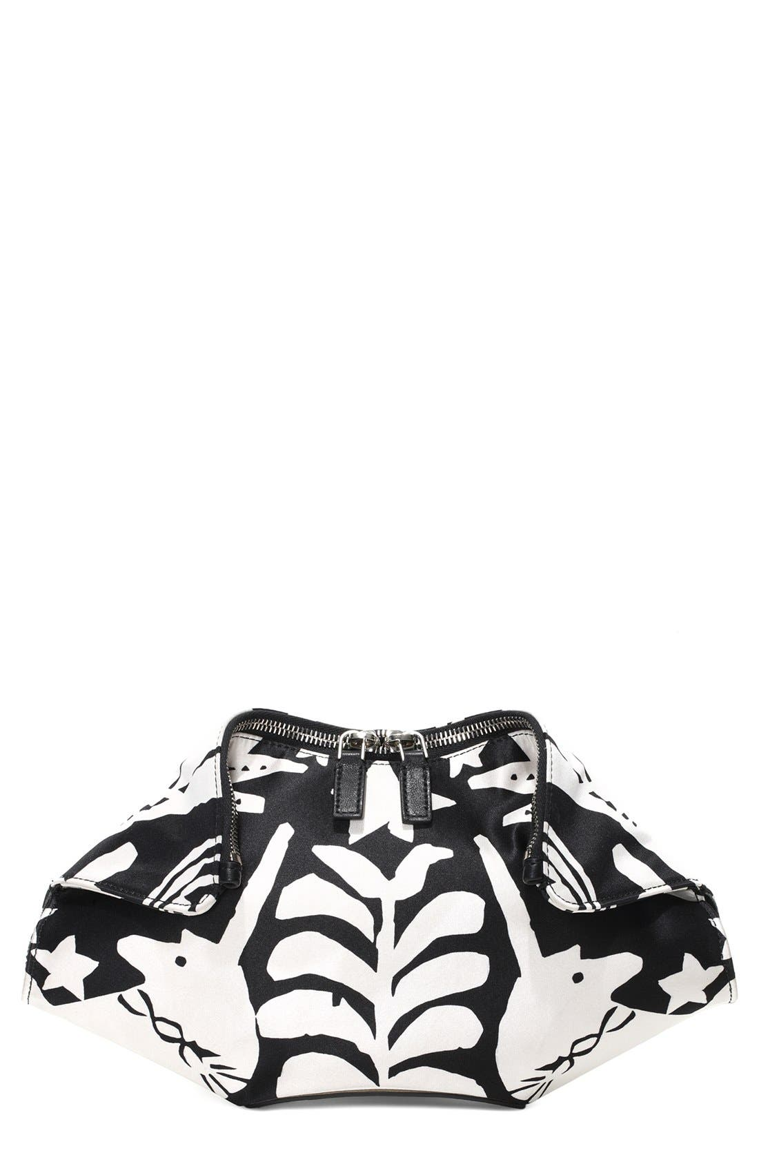 Alternate Image 1 Selected - Alexander McQueen 'De Manta' Print Silk Clutch