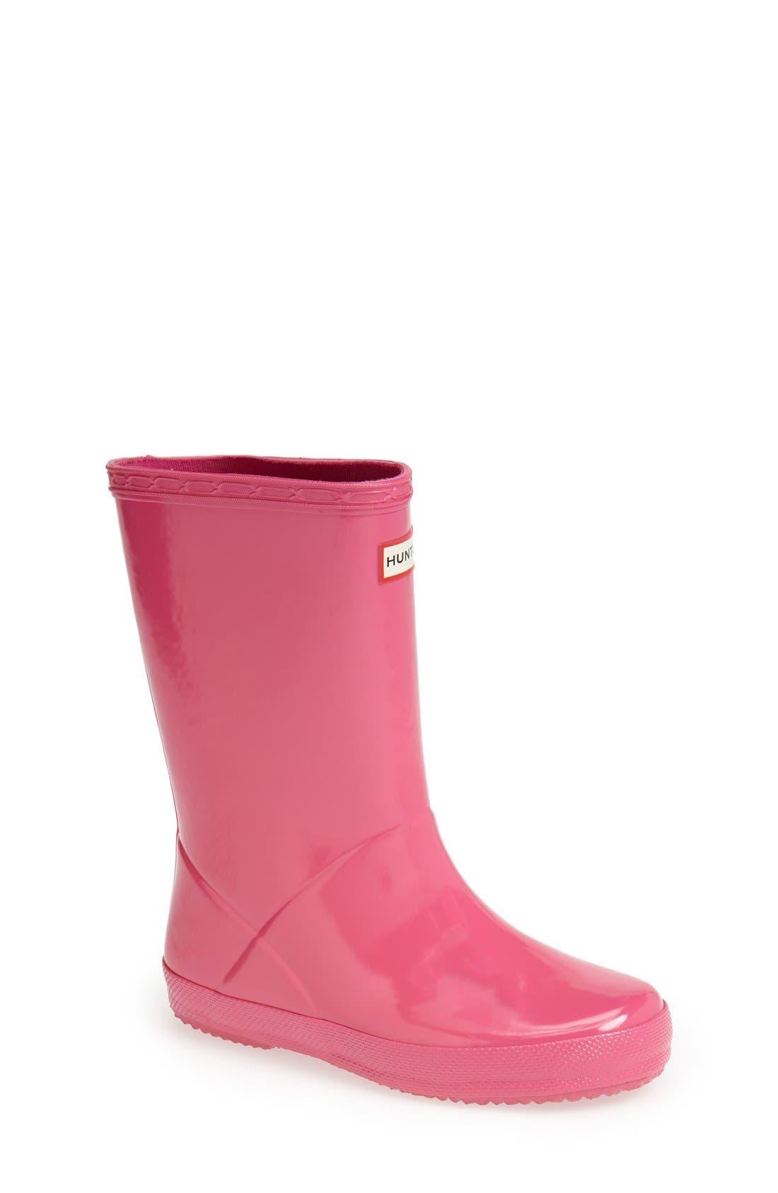Alternate Image 1 Selected - Hunter 'First Gloss' Rain Boot (Walker, Toddler & Little Kid)