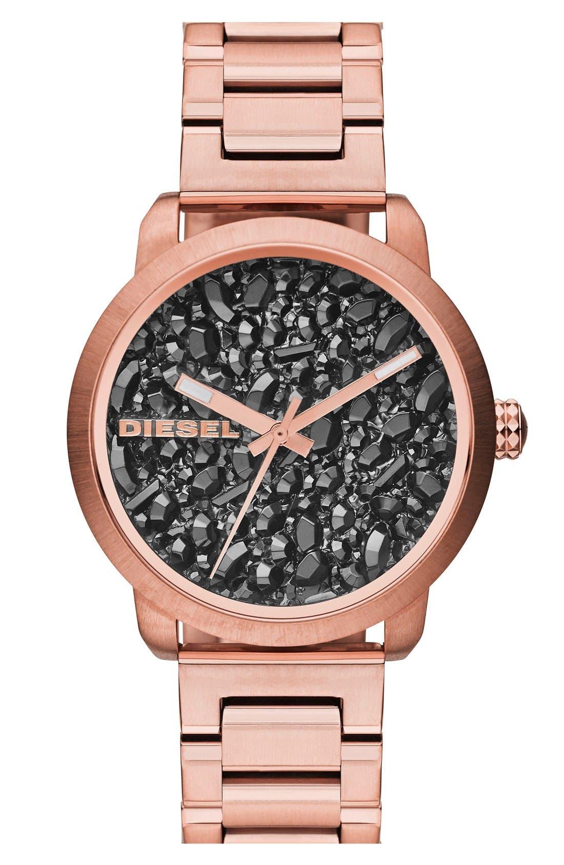 Main Image - DIESEL® 'Flare' Textured Dial Bracelet Watch, 38mm
