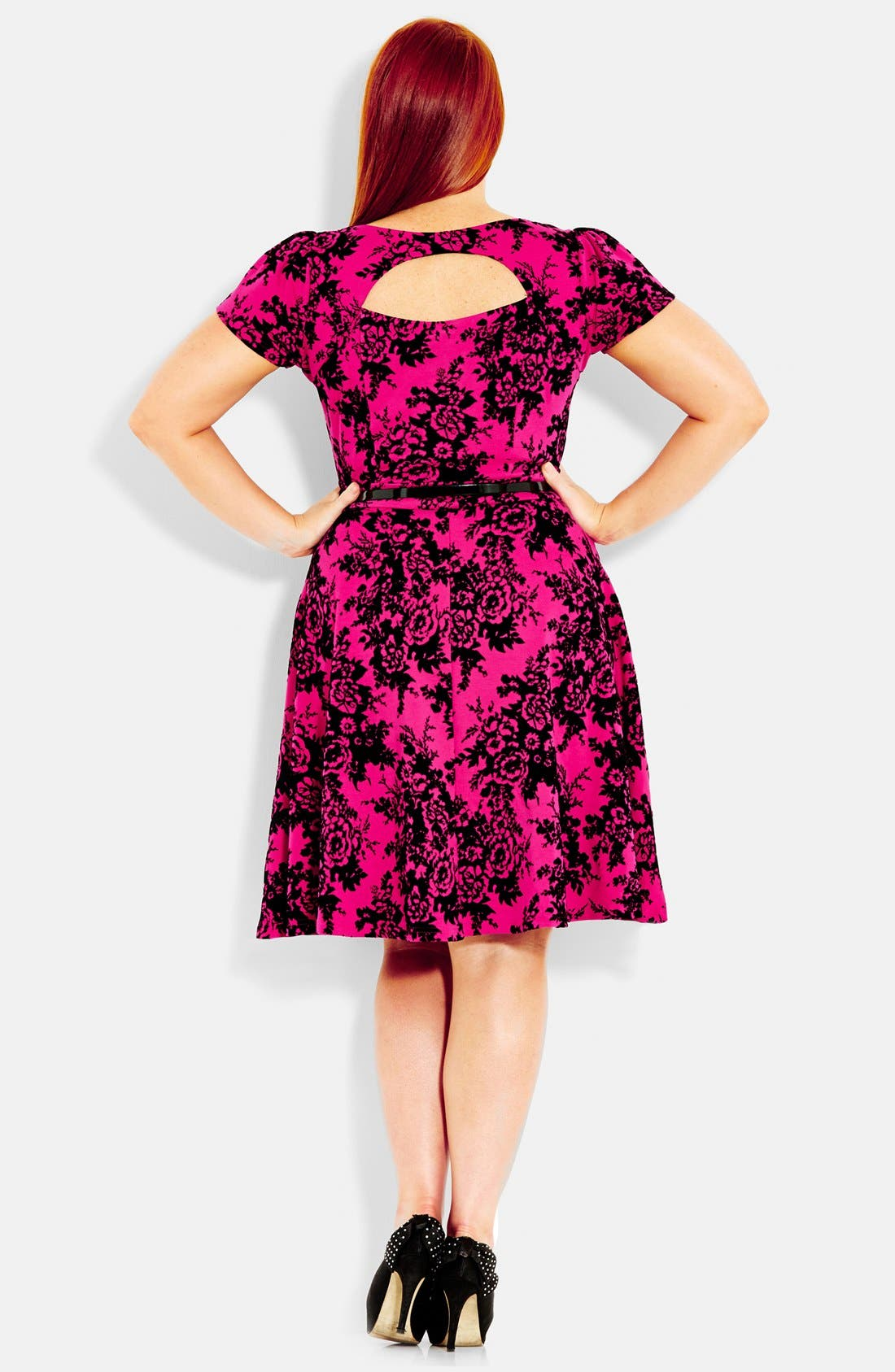 Alternate Image 2  - City Chic Flocked Fit & Flare Dress (Plus Size)