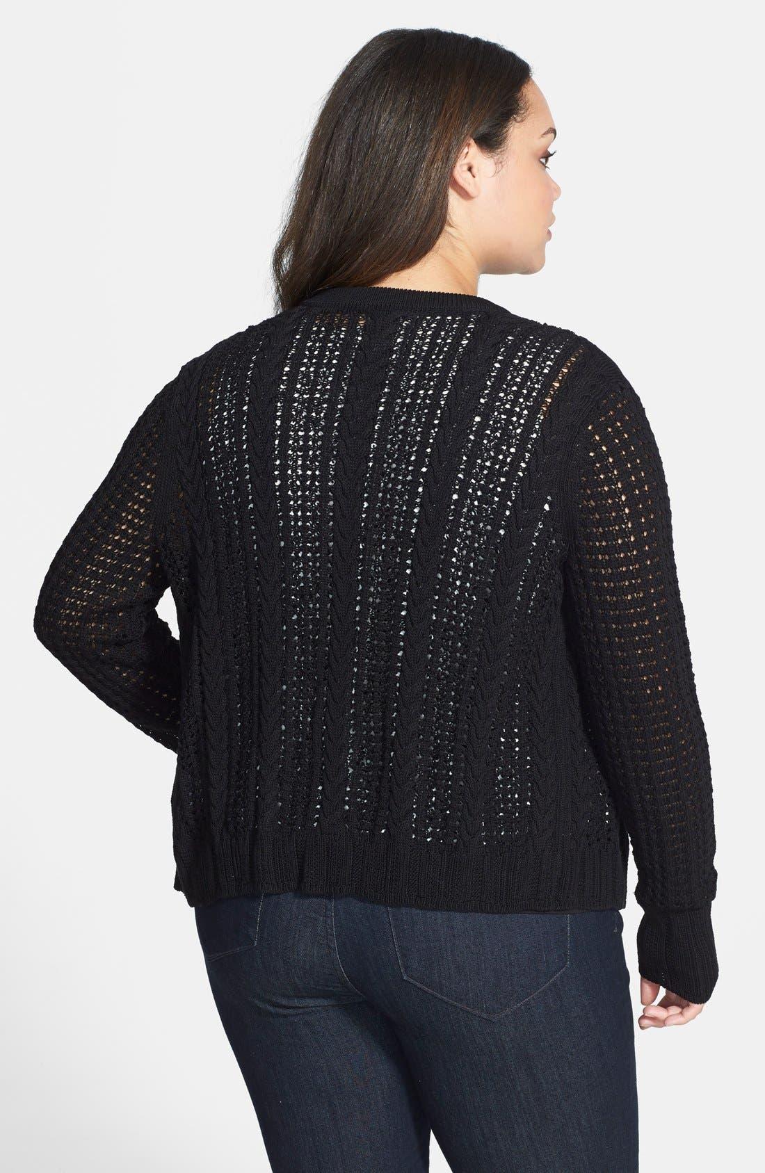 Alternate Image 2  - Anne Klein Mixed Knit Cardigan (Plus Size)