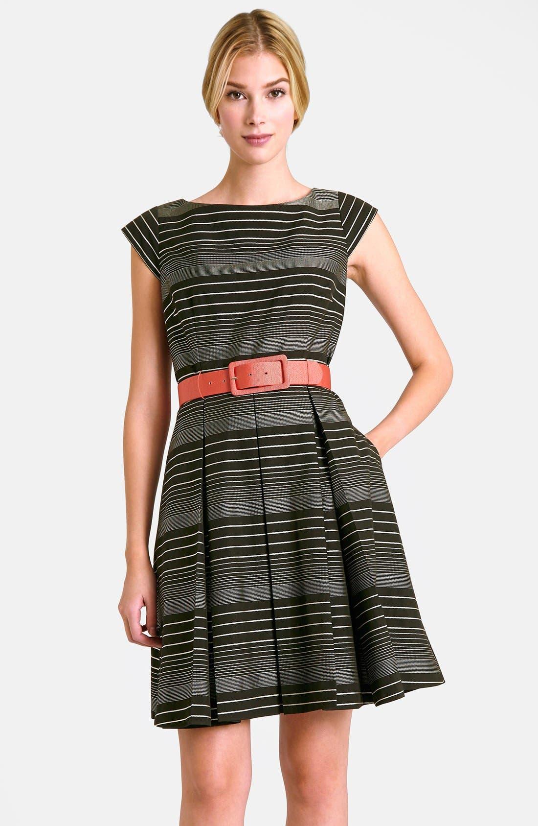 Main Image - Tahari Belted Stripe Fit & Flare Dress (Regular & Petite)