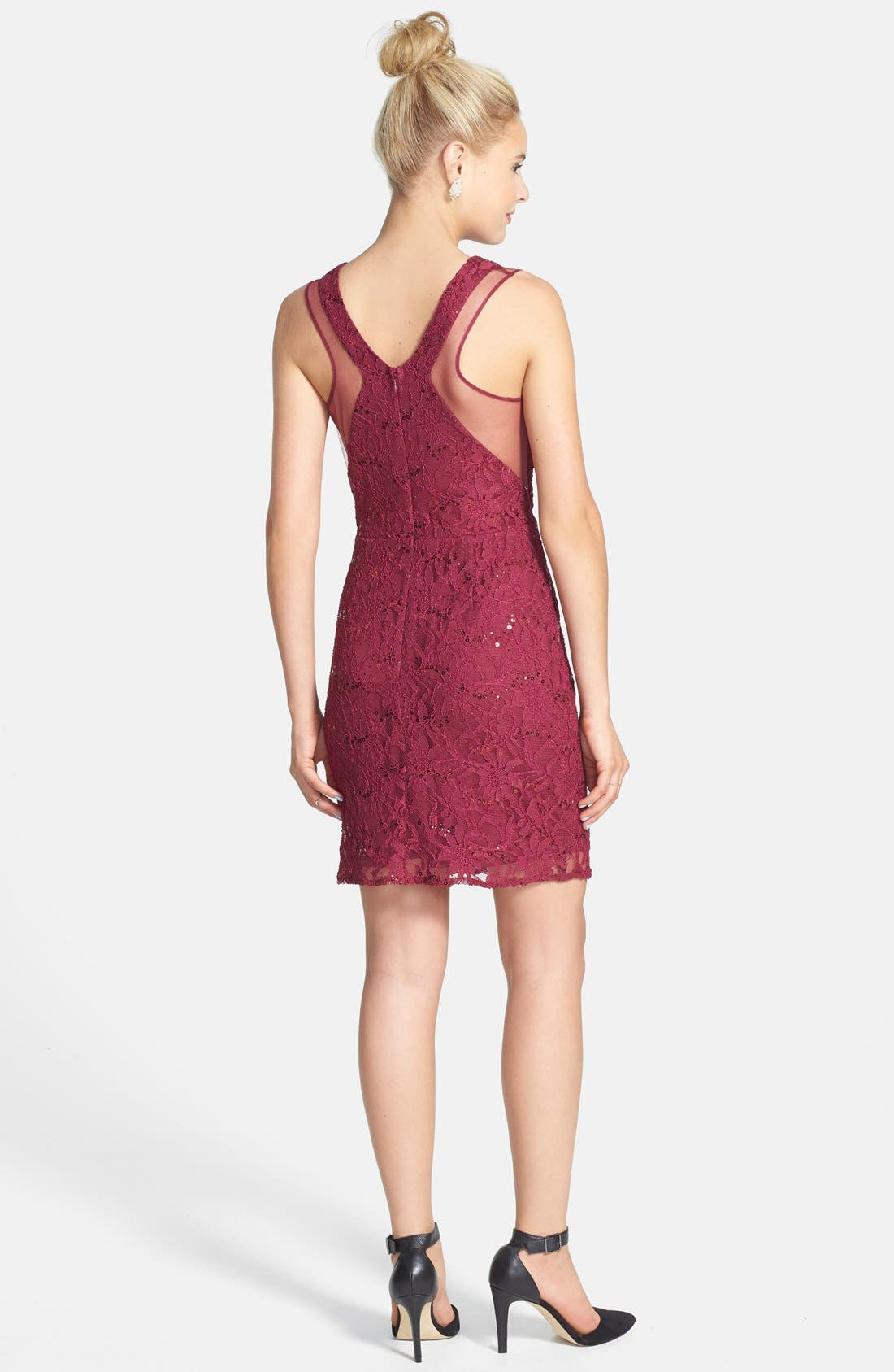 Alternate Image 2  - Hailey Logan Mesh Inset Sequin Lace Sheath Dress (Juniors) (Online Only)