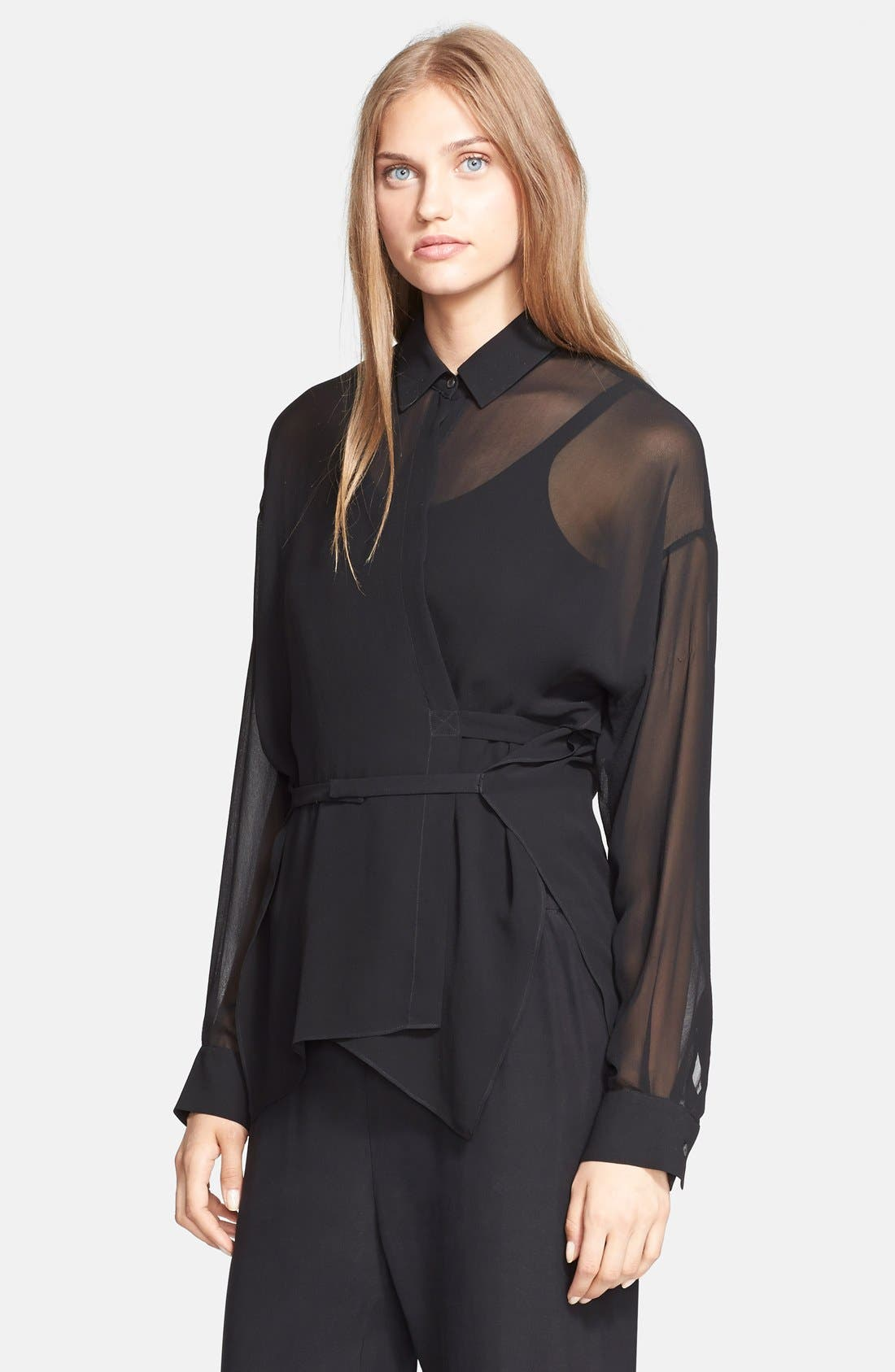Alternate Image 1 Selected - T by Alexander Wang Silk Georgette Wrap Blouse