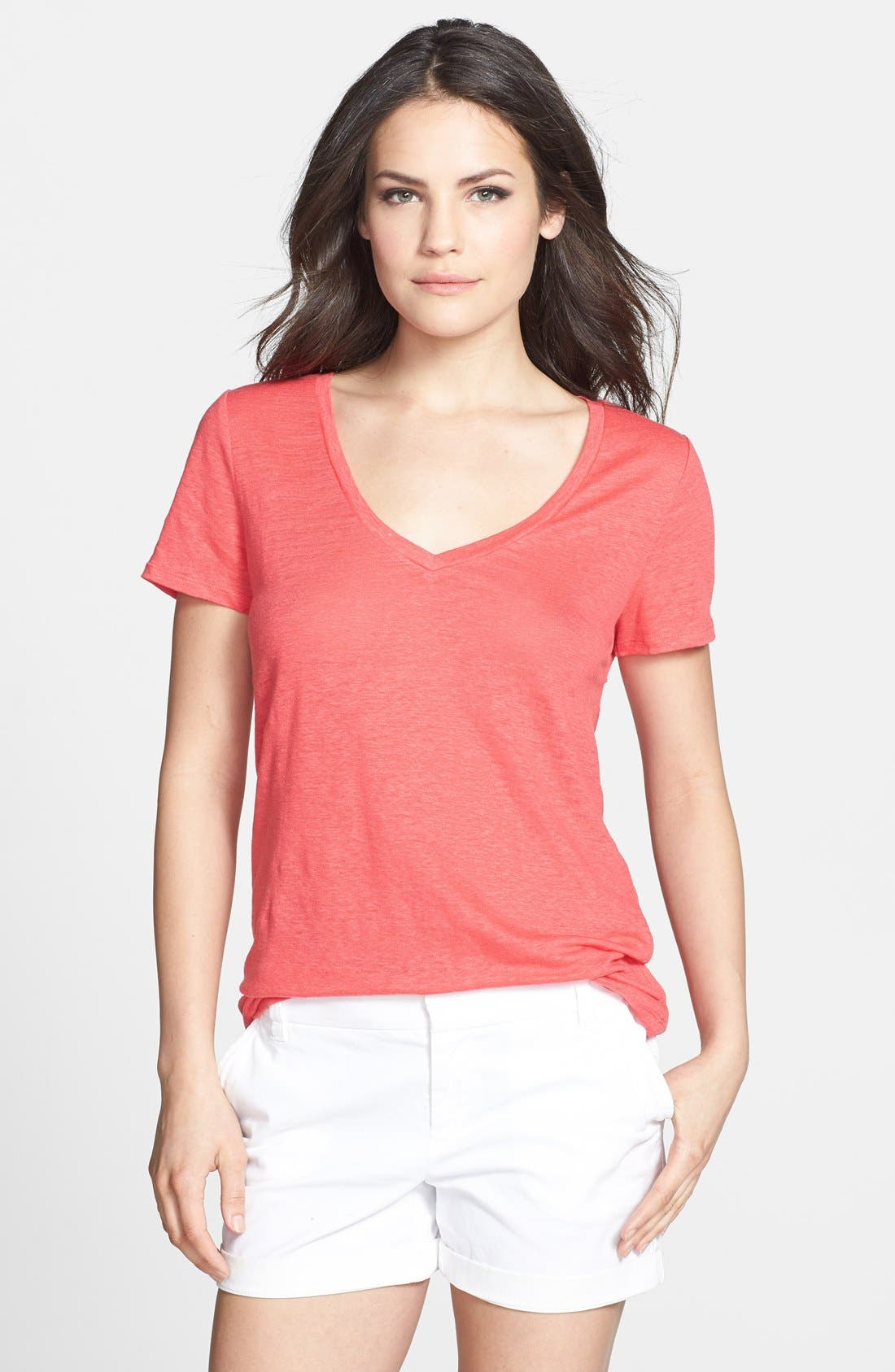 Main Image - Halogen® Twist Back Short Sleeve Linen Tee (Petite)