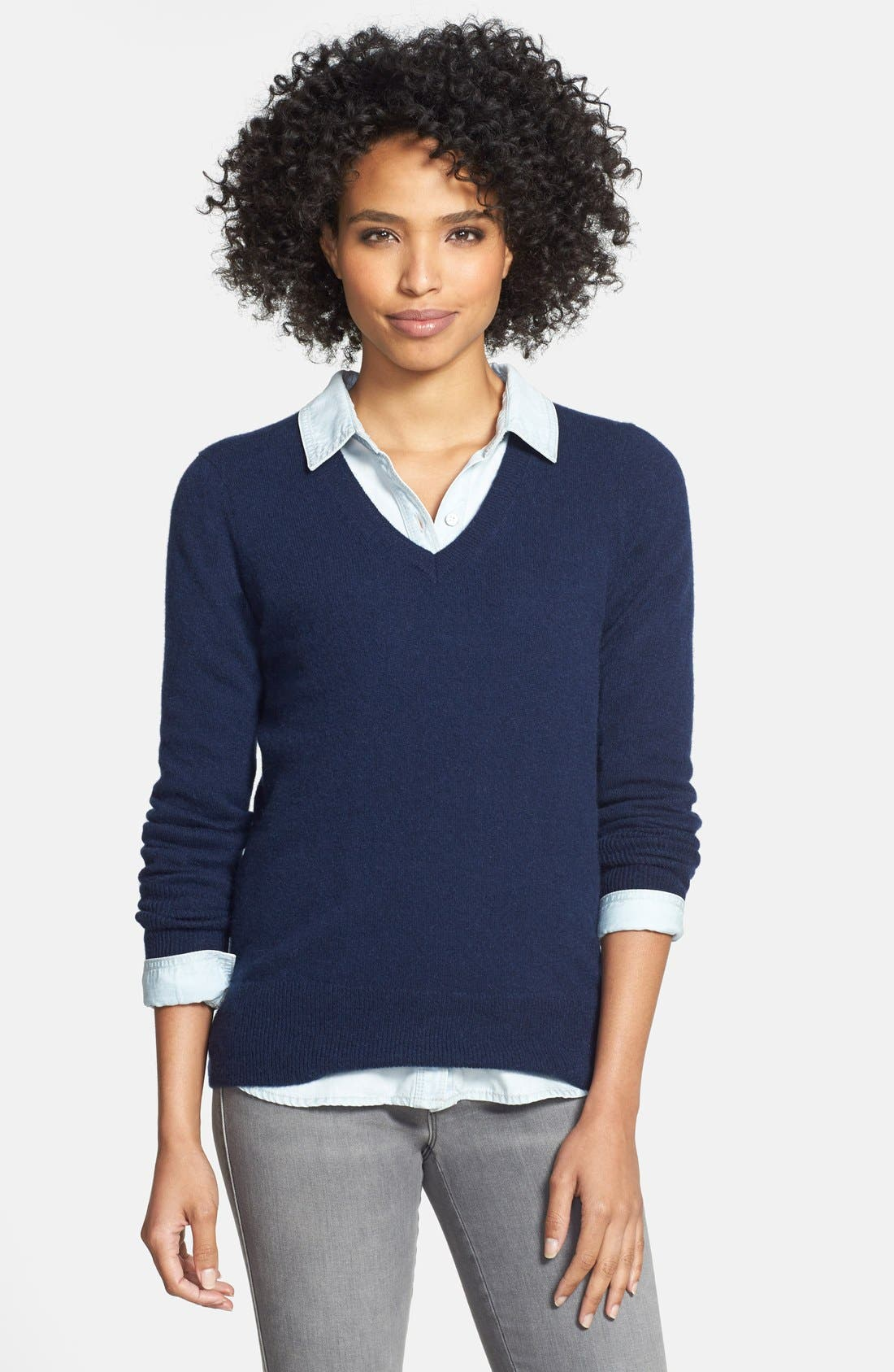 Alternate Image 1 Selected - Halogen® Cashmere V-Neck Sweater (Regular & Petite)