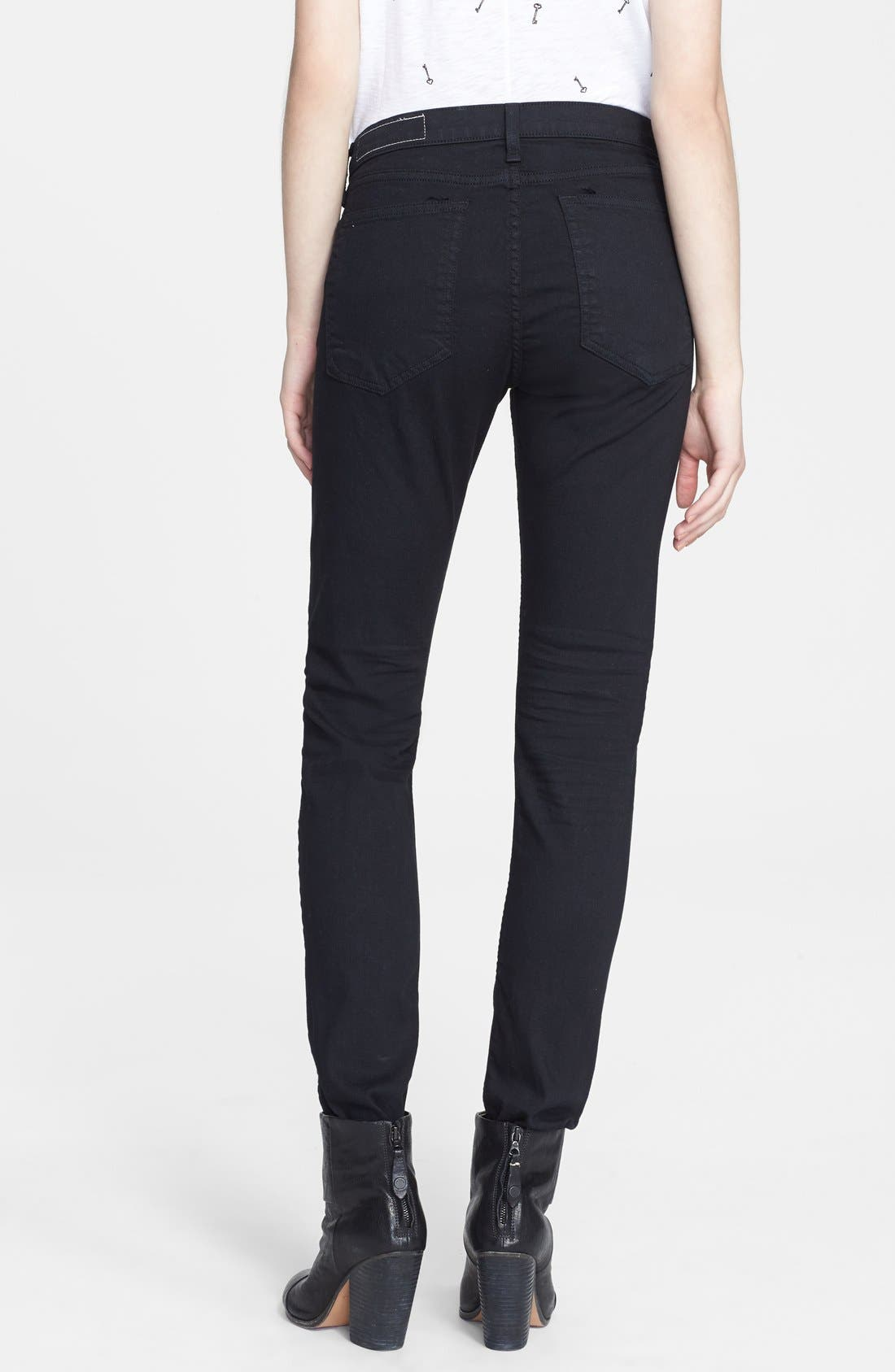 Alternate Image 2  - rag & bone/JEAN 'The Dre' Skinny Jeans (Aged Black)