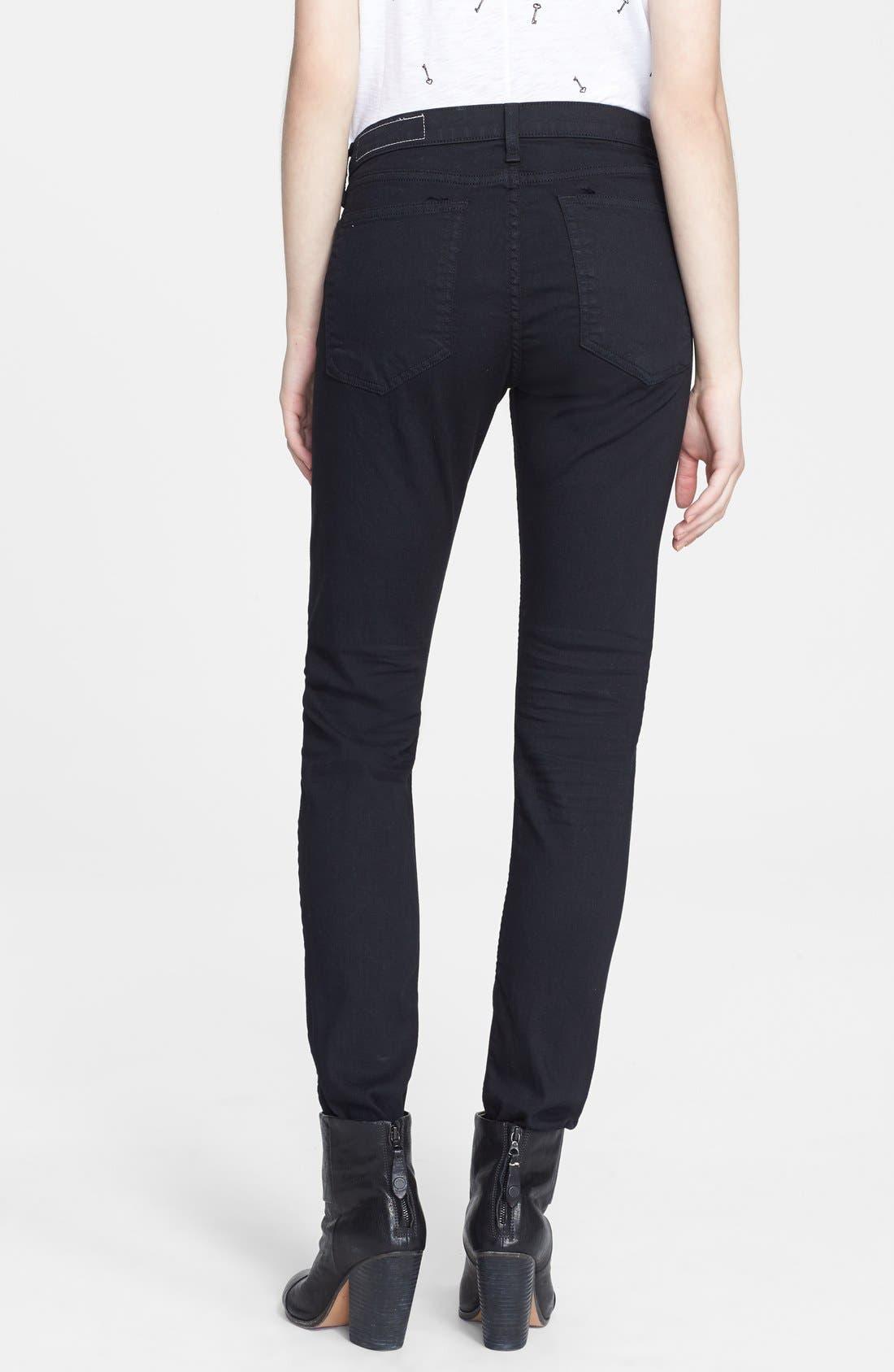 Alternate Image 2  - rag & bone/JEAN 'The Dre' Skinny Jeans (Aged Black)