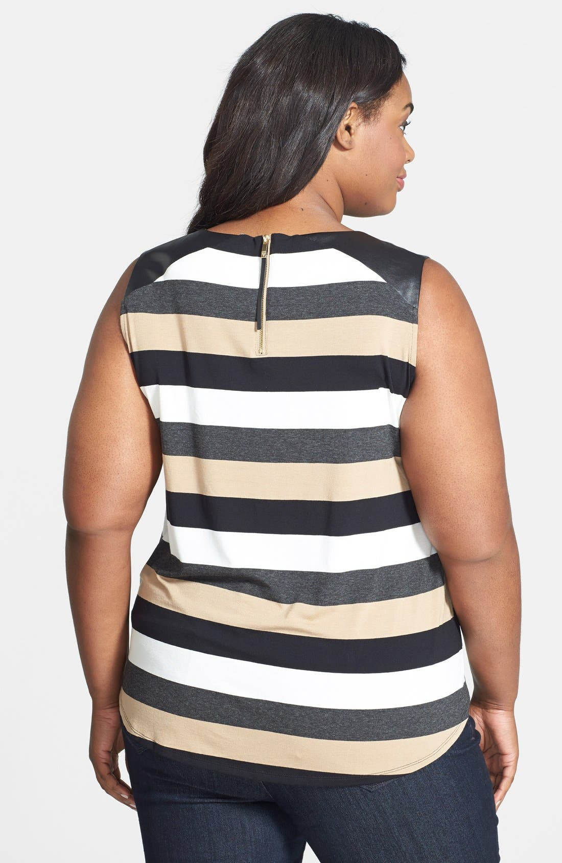 Alternate Image 2  - Vince Camuto Faux Leather Trim Stripe Sleeveless Top