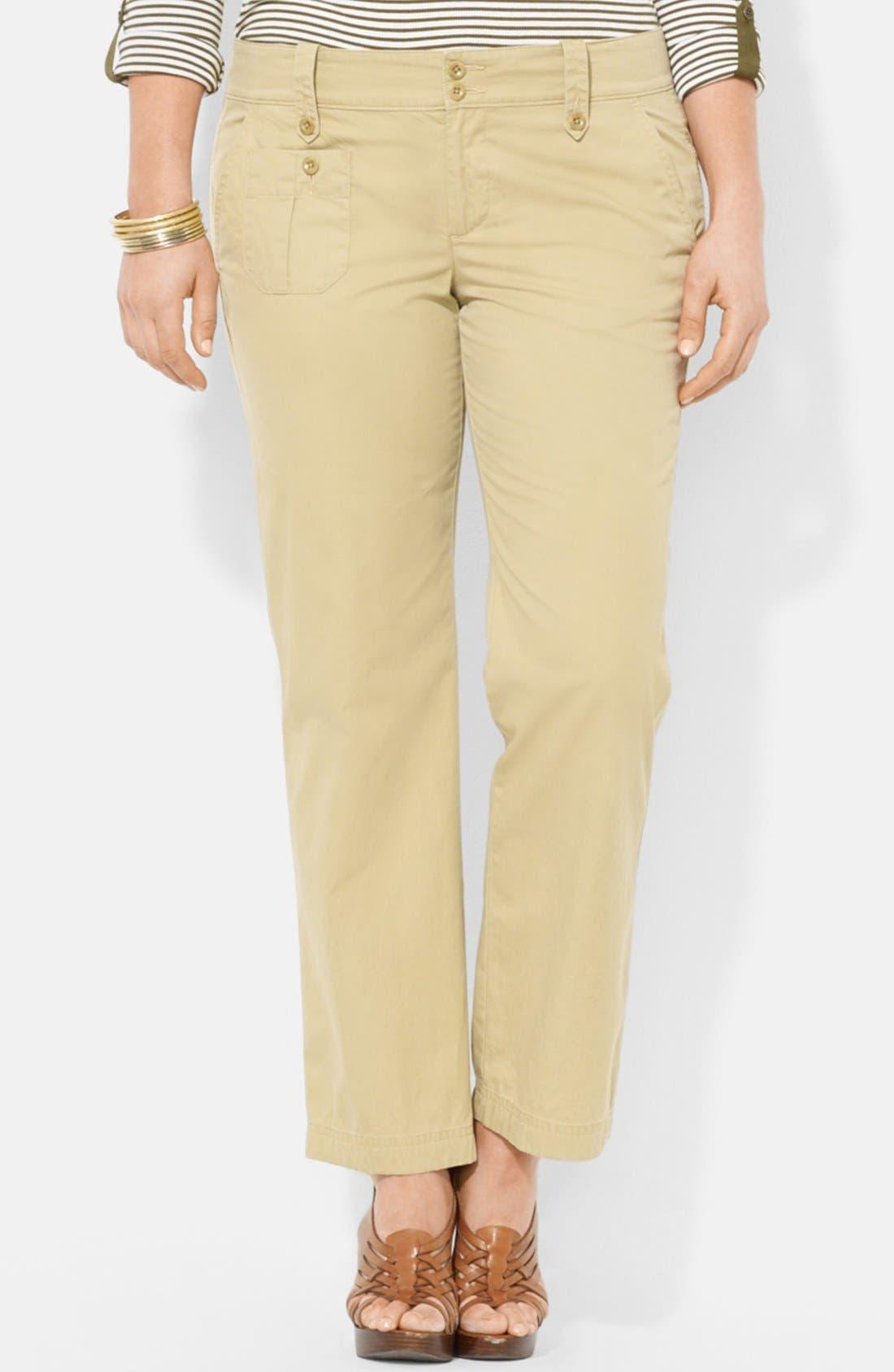 Alternate Image 1 Selected - Lauren Ralph Lauren Twill Cargo Pants (Plus Size)