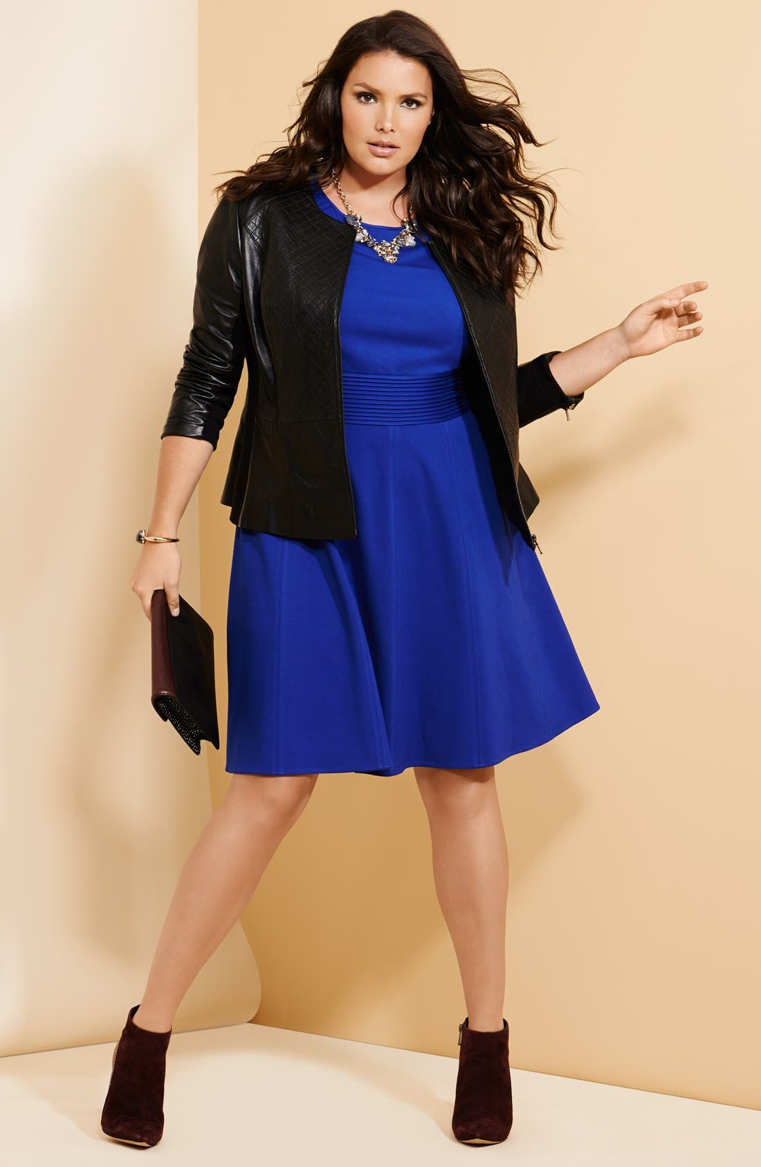Alternate Image 5  - Sejour Quilted Leather Peplum Jacket (Plus Size)