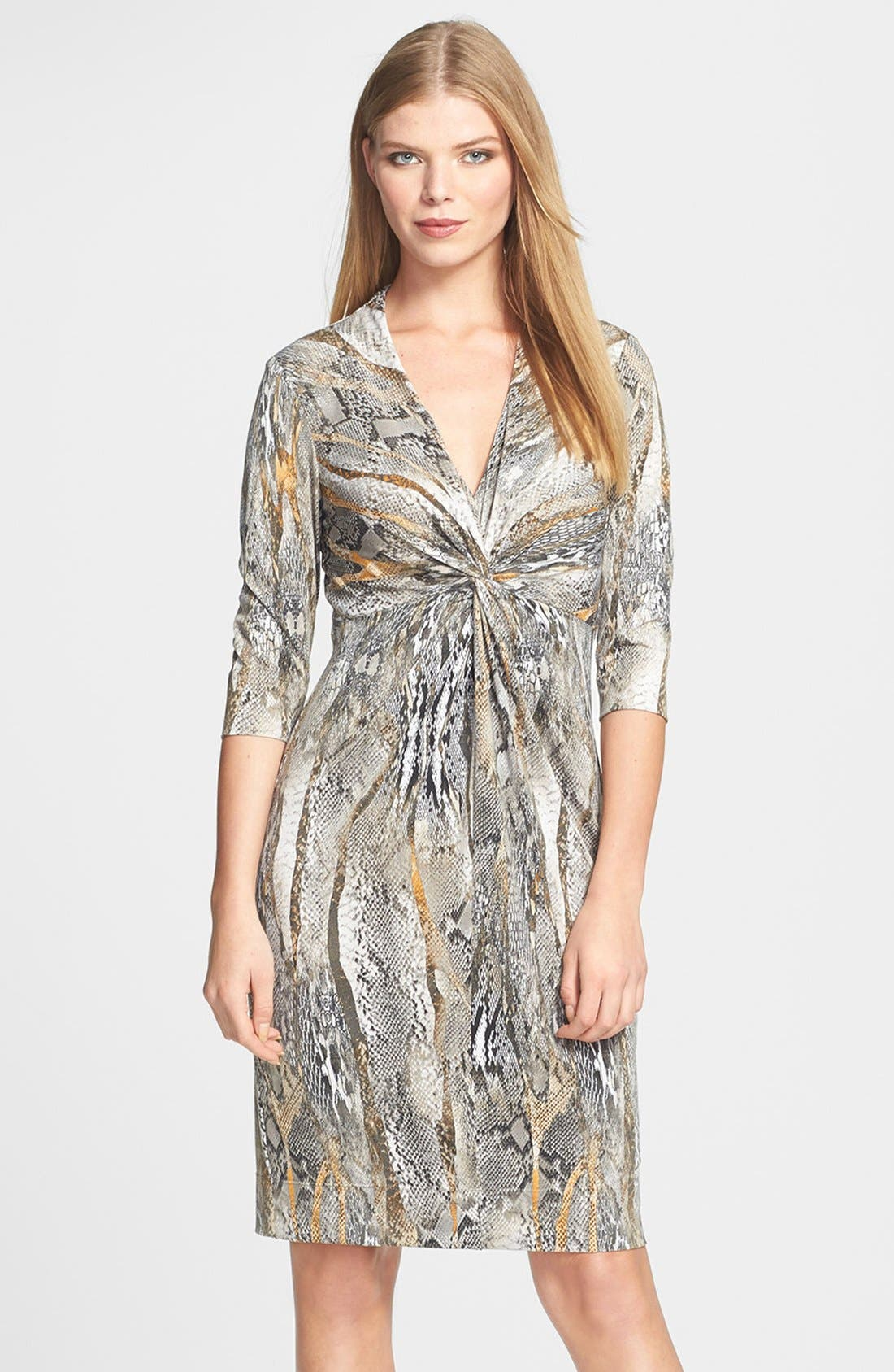 Alternate Image 1 Selected - Donna Ricco Python Print Front Twist Jersey Dress (Regular & Petite)