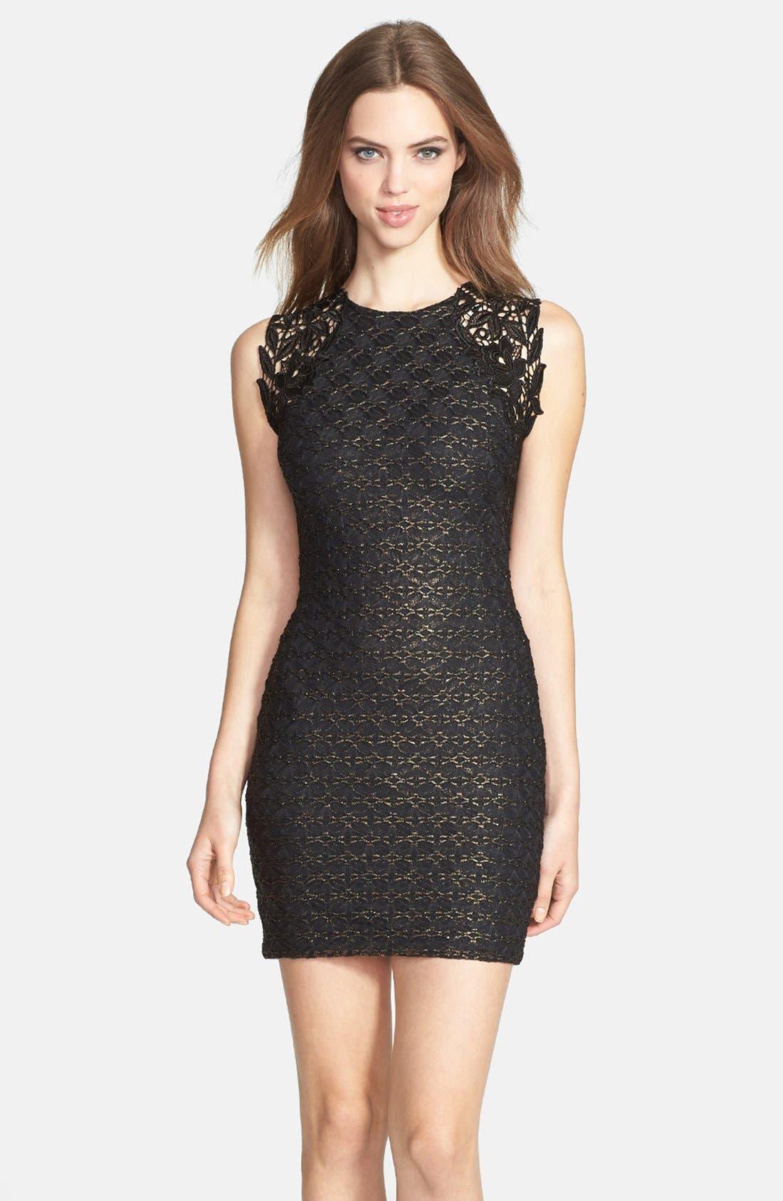 Main Image - Dress the Population 'Lauren' Lace Detail Foiled Body-Con Dress