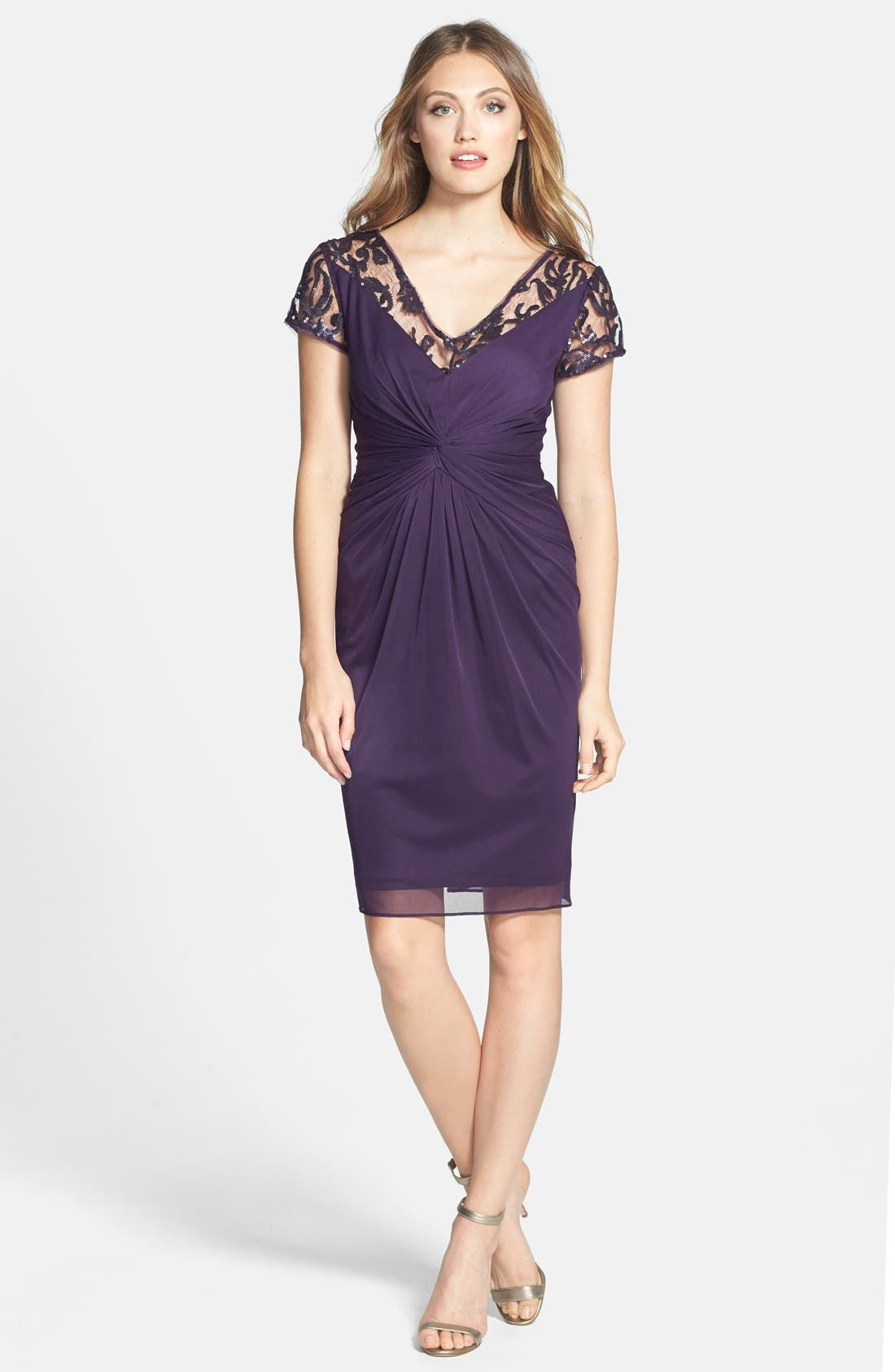 Alternate Image 3  - Adrianna Papell Sequin Lace & Tulle Sheath Dress