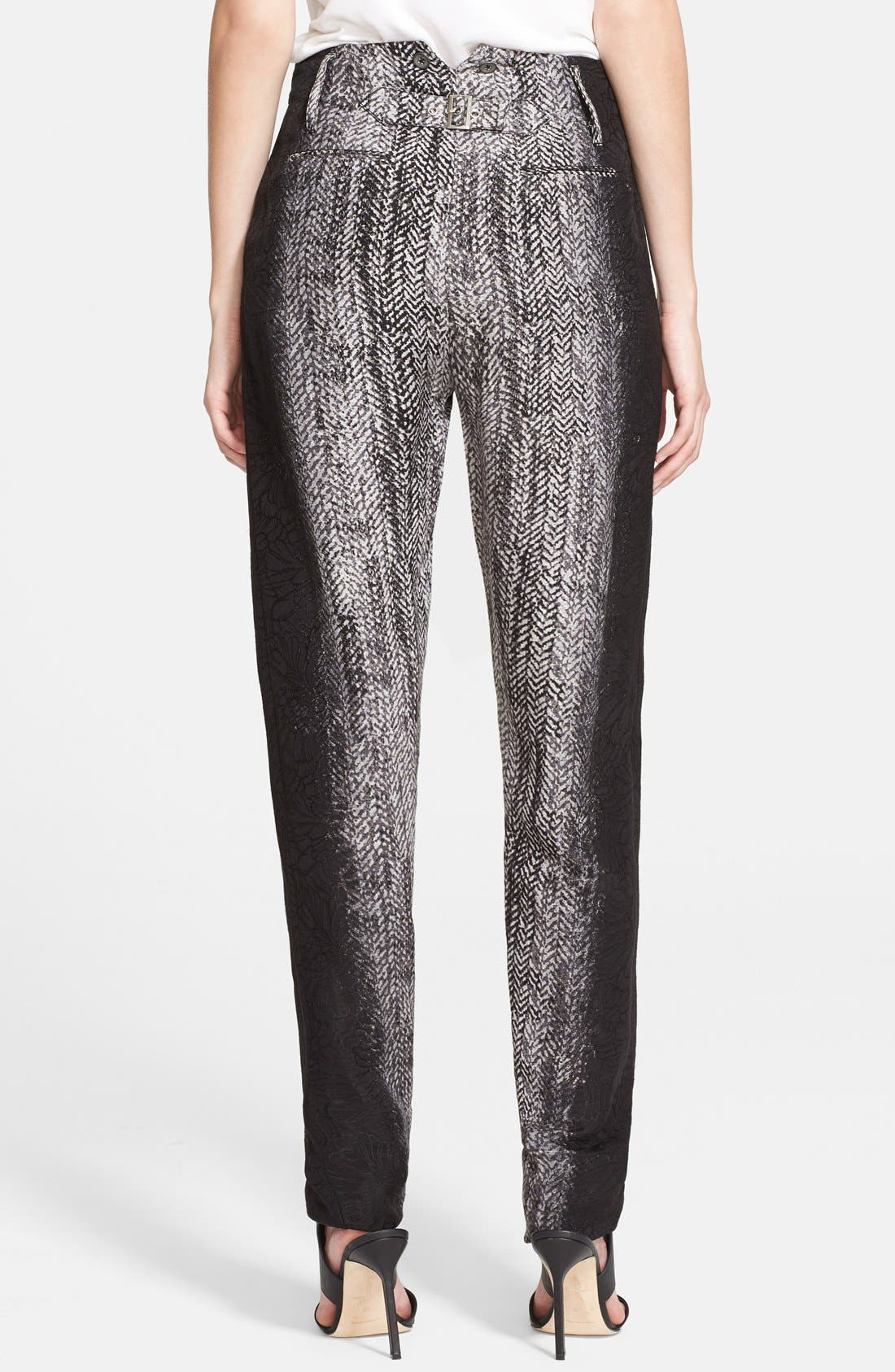 Alternate Image 2  - Tracy Reese Herringbone Print Lamé Trousers