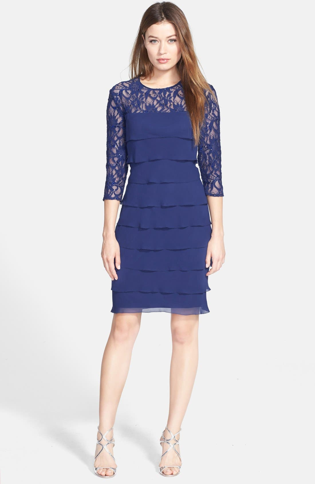 Alternate Image 3  - Alex Evenings Tiered Chiffon & Lace Sheath Dress (Regular & Petite)