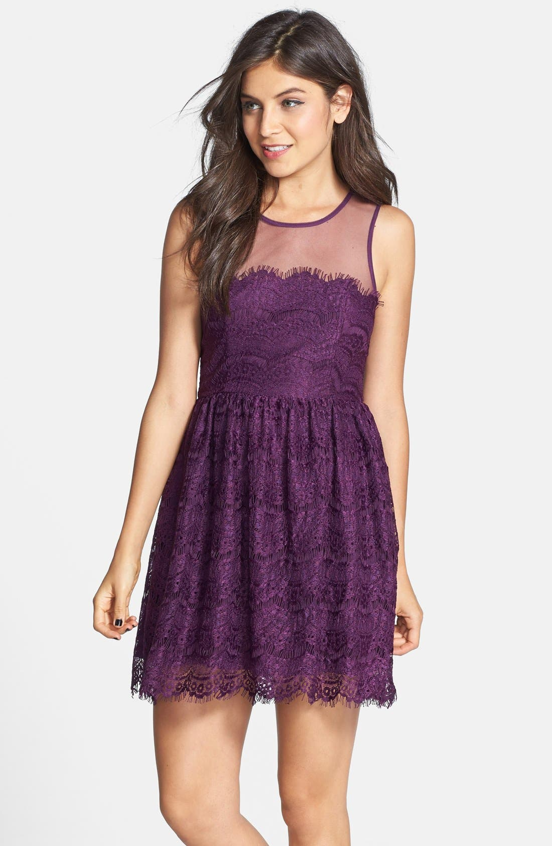 Alternate Image 1 Selected - En Crème Eyelash Lace Skater Dress (Juniors) (Online Only)