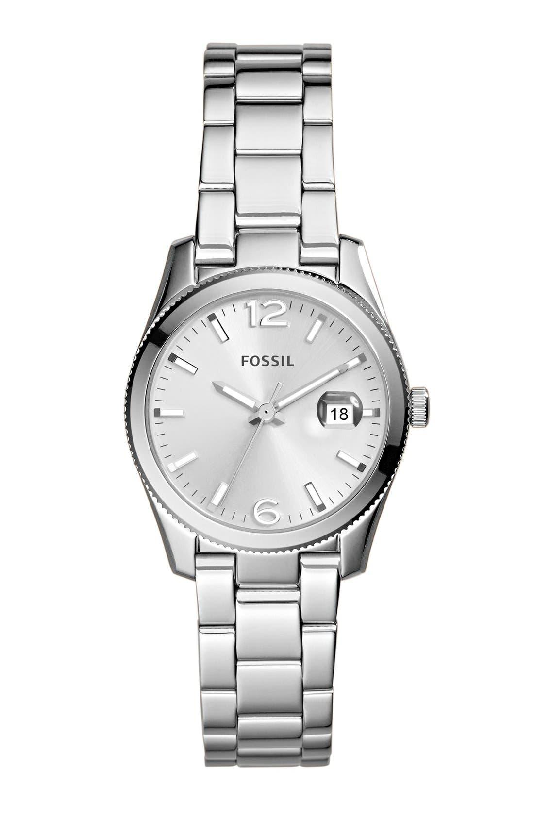 Main Image - Fossil 'Perfect Boyfriend' Round Bracelet Watch, 28mm