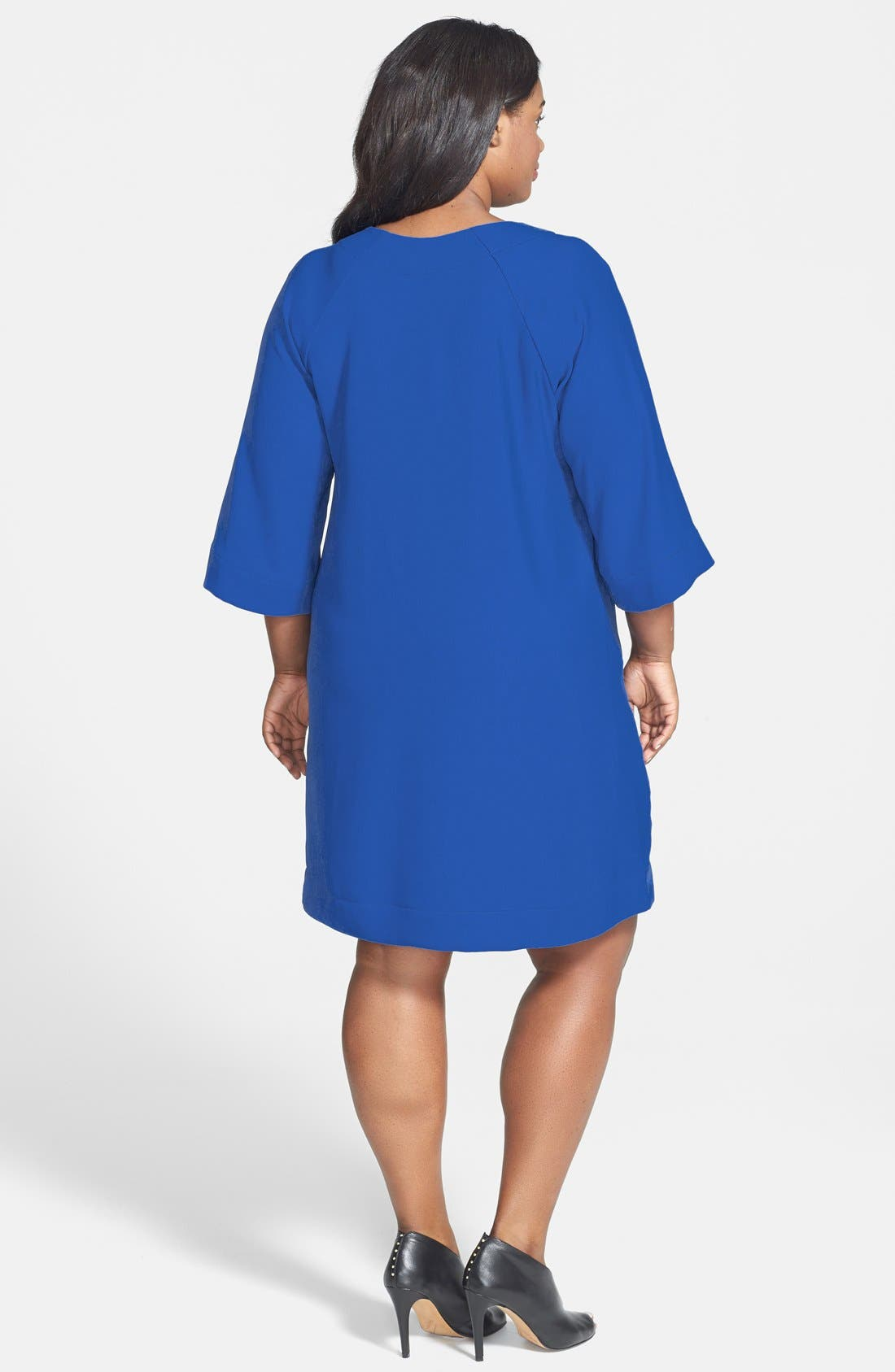 Alternate Image 2  - Donna Ricco V-Neck Shift Dress (Plus Size)