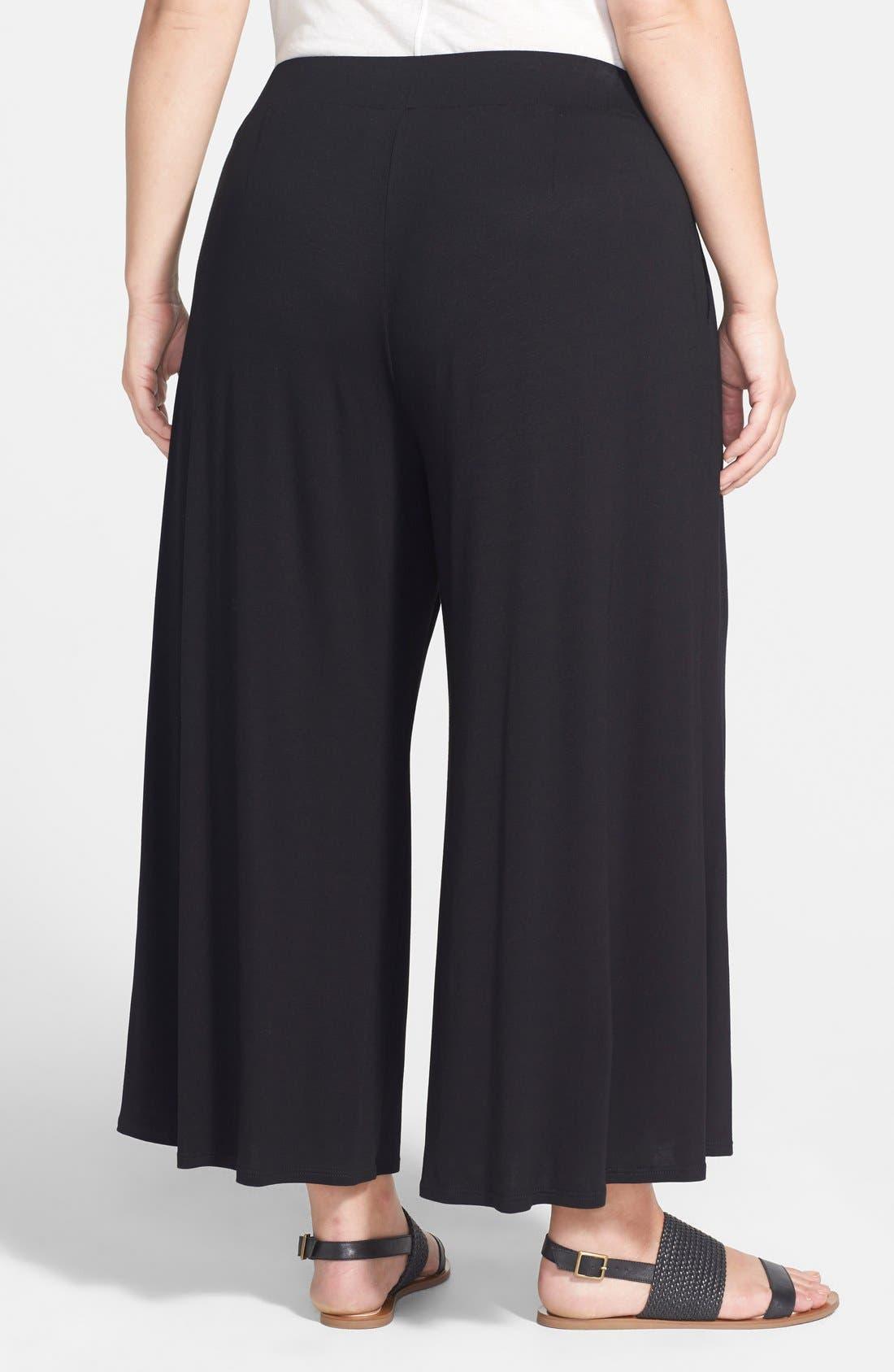 Alternate Image 2  - Eileen Fisher Wide Leg Jersey Pants (Plus Size)