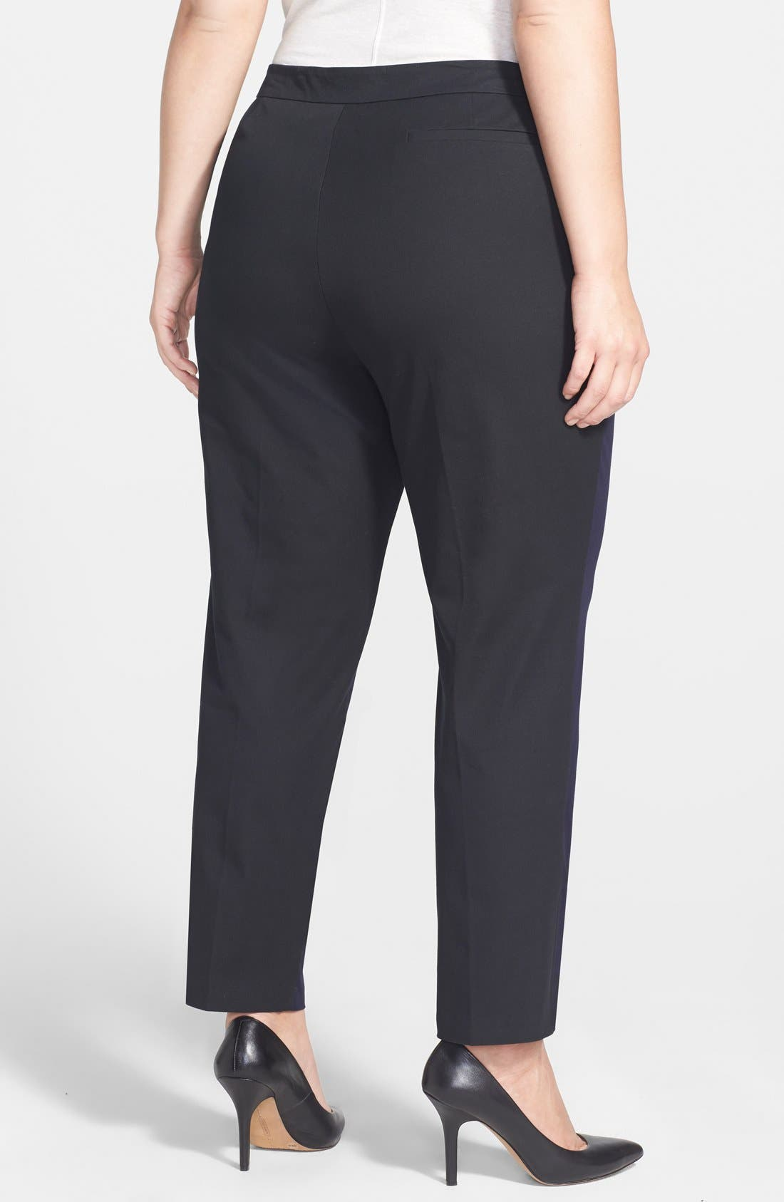 Alternate Image 2  - Eileen Fisher Colorblock Slim Stretch Twill Ankle Pants (Plus Size)