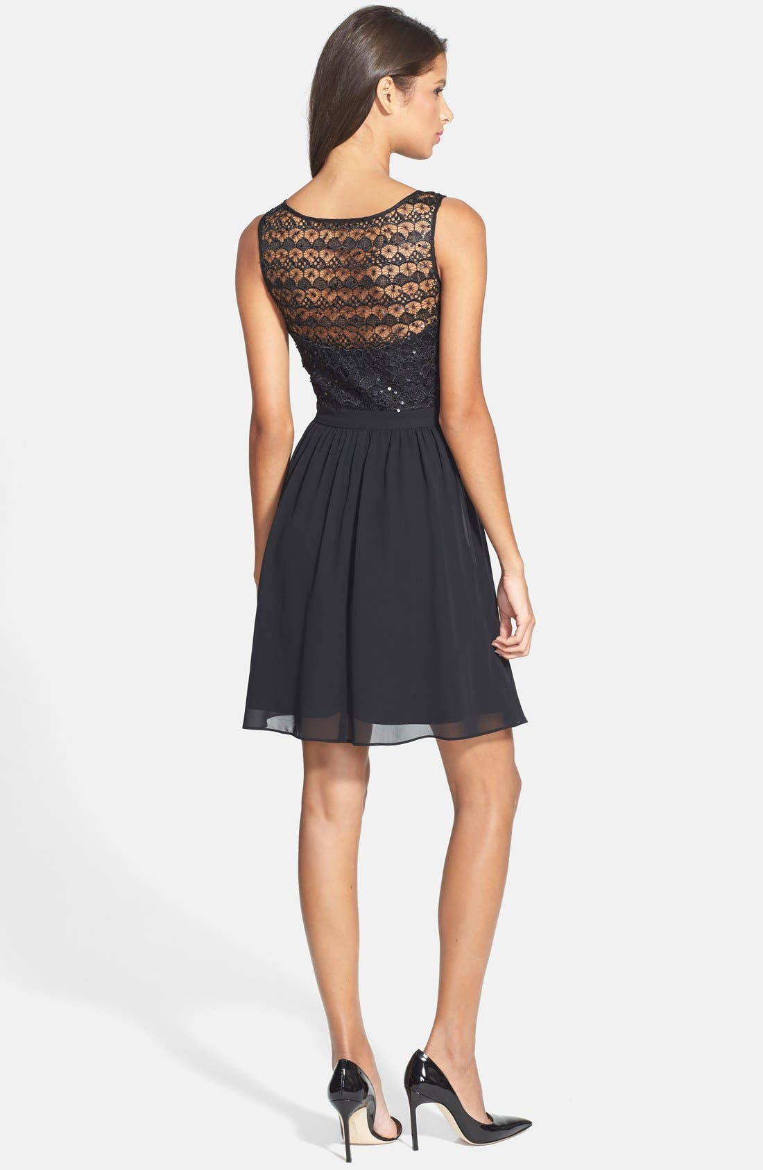 Alternate Image 2  - Hailey by Adrianna Papell Sequin Lace Illusion Fit & Flare Dress