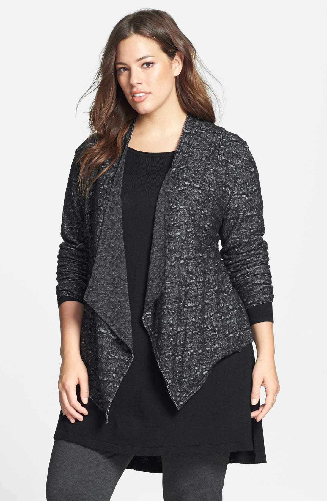 Alternate Image 1 Selected - Eileen Fisher Drape Front Shaped Jacket (Plus Size)