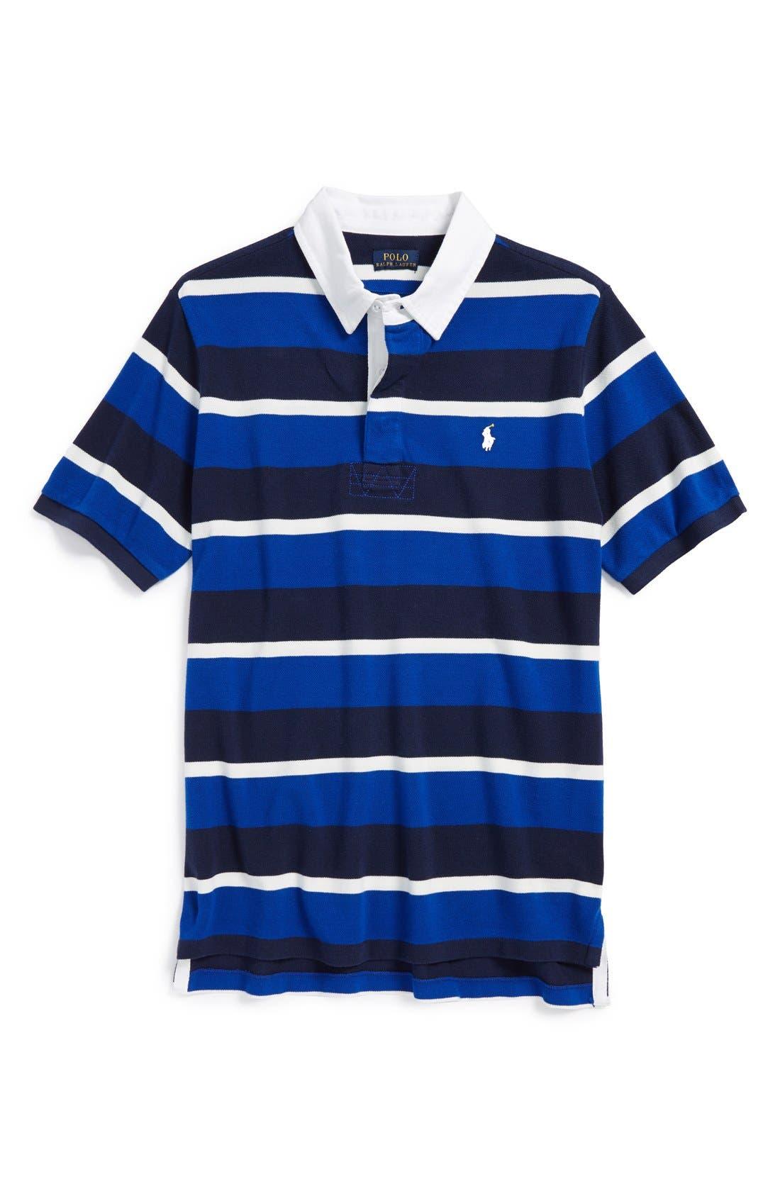 Alternate Image 1 Selected - Ralph Lauren Rugby Stripe Mesh Polo (Toddler Boys)