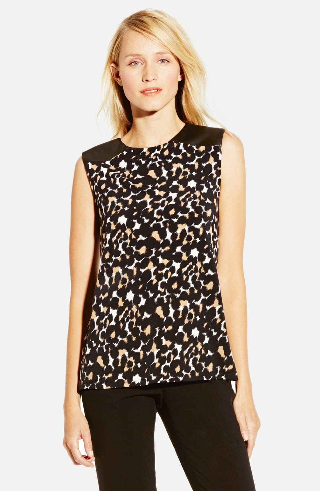 Main Image - Vince Camuto Faux Leather Trim Print High/Low Top