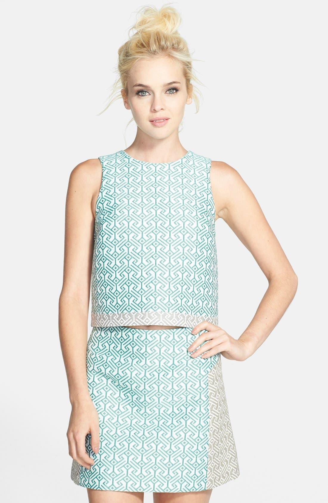 Alternate Image 1 Selected - Topshop Colorblock Jacquard Shell (Nordstrom Exclusive)