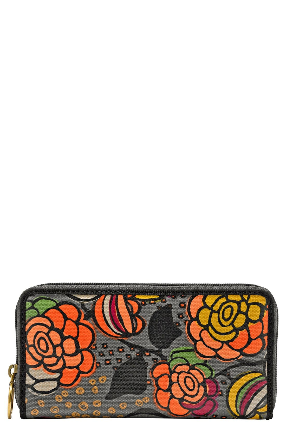 Main Image - Fossil 'Key-Per' Print Coated Canvas Zip Around Clutch Wallet