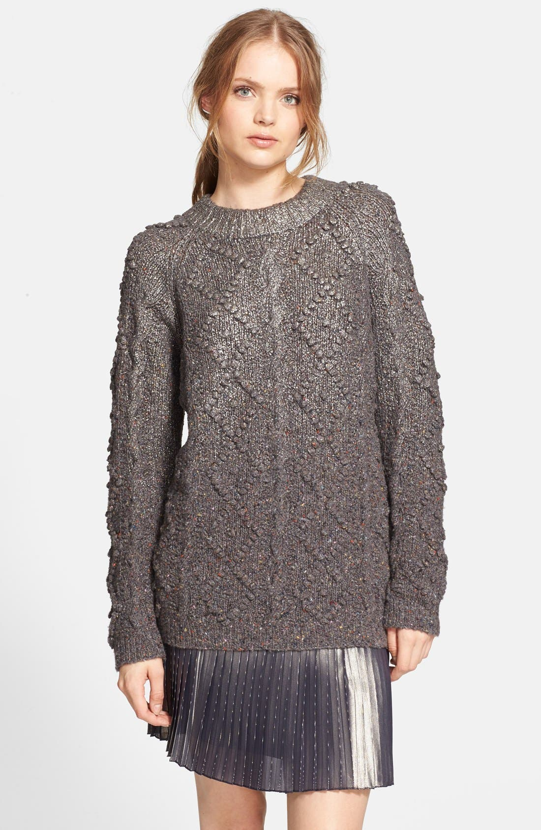 Alternate Image 1 Selected - Tory Burch 'Shawn' Metallic Wool Blend Tunic