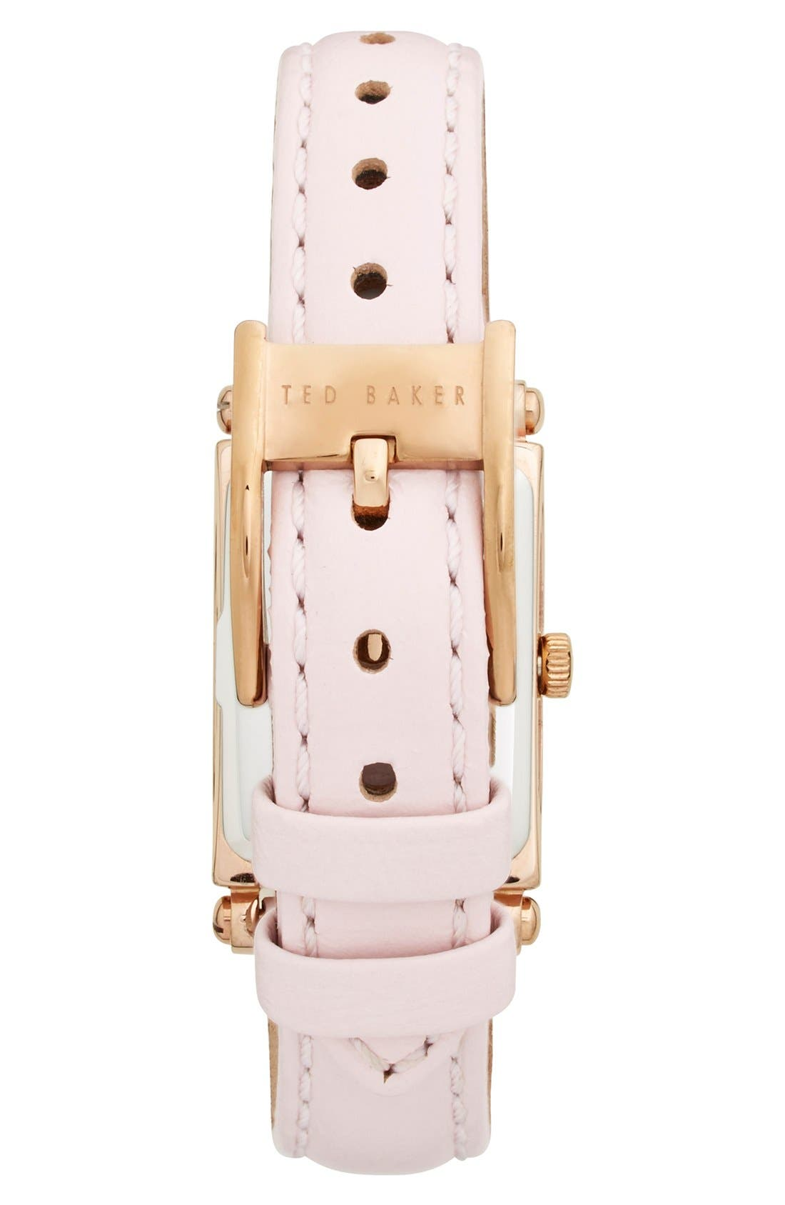 Alternate Image 2  - Ted Baker London 'Bliss' Rectangle Case Leather Strap Watch, 20mm x 27mm