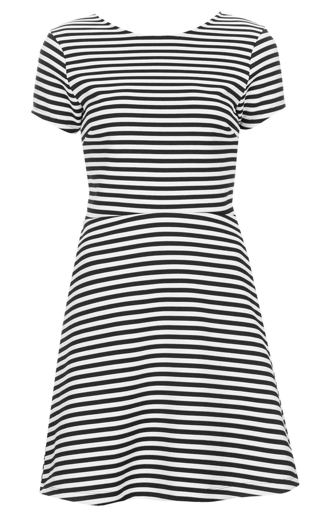 Alternate Image 3  - Topshop Sailor Stripe Bonded Skater Dress