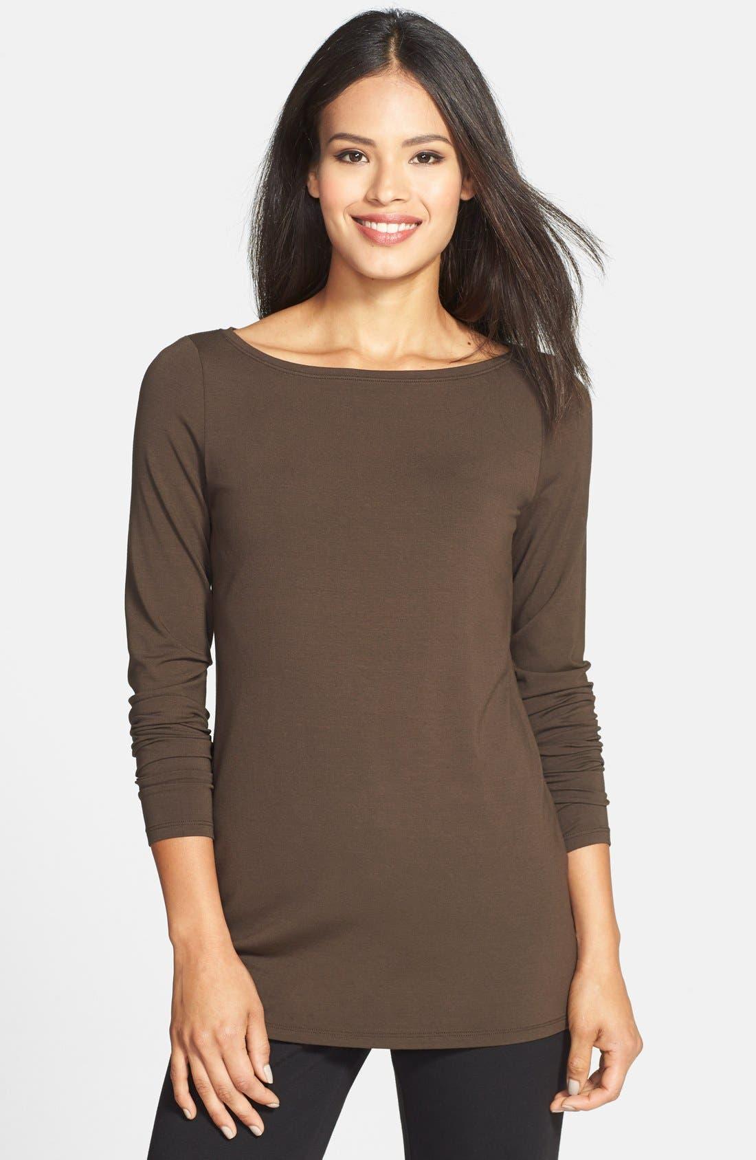 Alternate Image 1 Selected - Eileen Fisher Bateau Neck Slim Jersey Top (Regular & Petite)