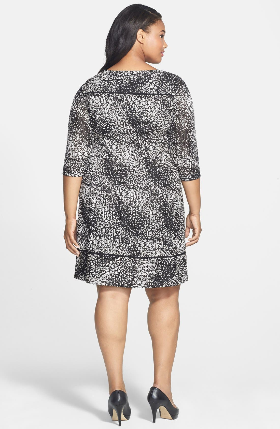 Alternate Image 2  - Adrianna Papell Print Knit Shift Dress (Plus Size)