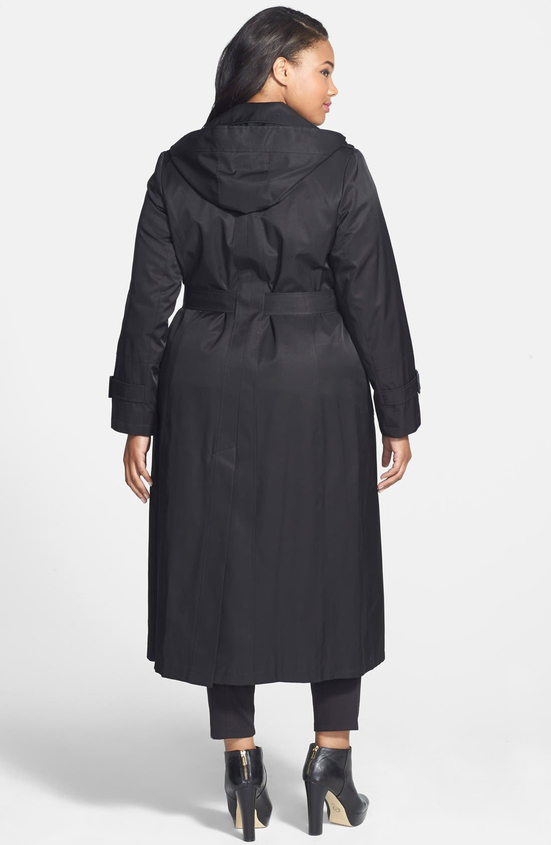 Alternate Image 2  - DKNY Long Trench Coat with Removable Hood (Plus Size)
