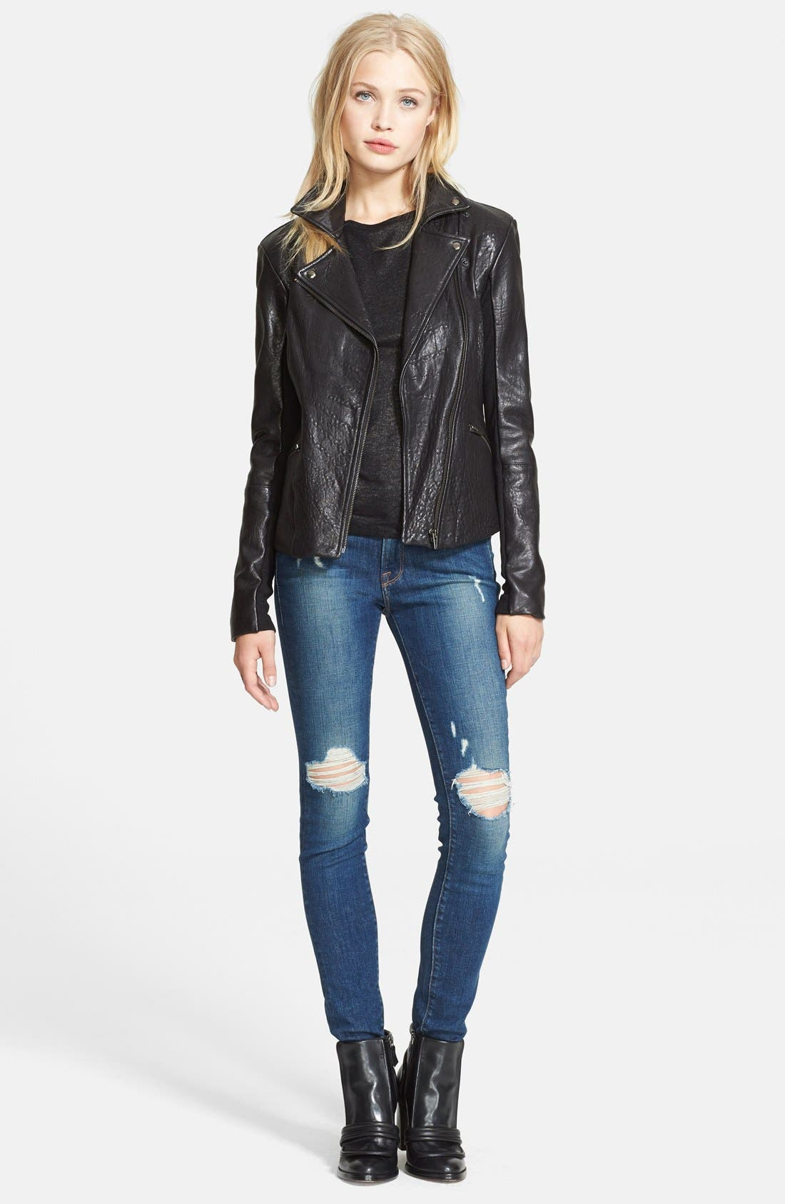 Alternate Image 1 Selected - Veda 'Dallas' Embossed Leather Jacket