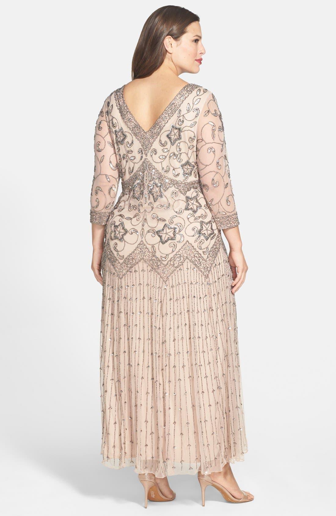 Alternate Image 2  - Pisarro Nights Beaded Mesh Gown (Plus Size)