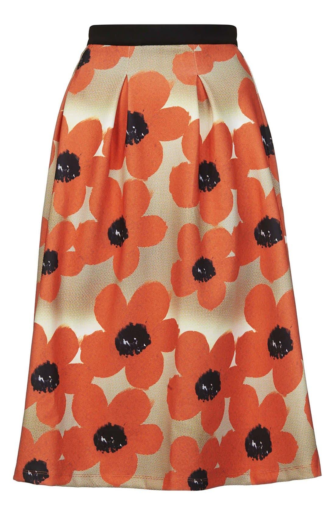 Alternate Image 3  - Topshop 'Sunscratch' Floral Print Scuba Midi Skirt