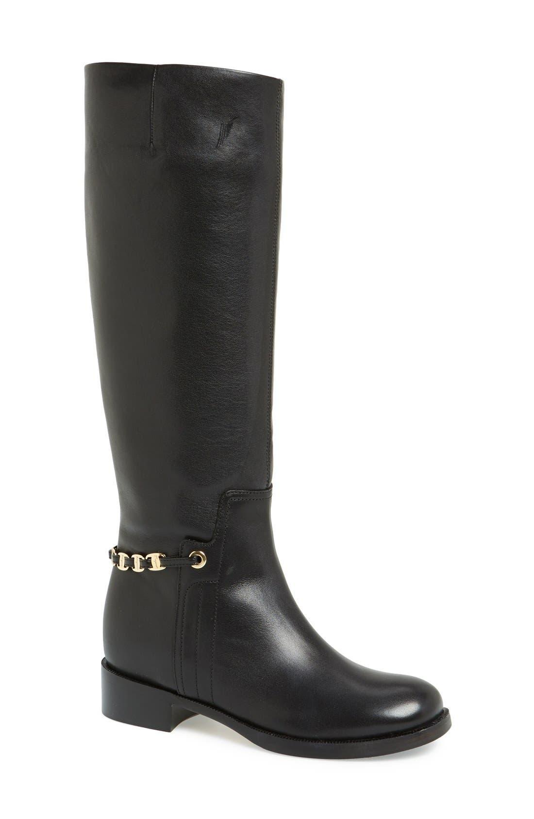 Main Image - Salvatore Ferragamo 'Nando' Chain Trim Leather Boot (Women)