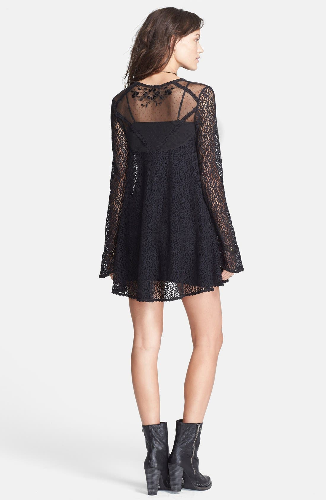 Alternate Image 2  - Free People 'Rodeo Bella' Lace Trapeze Mini Dress