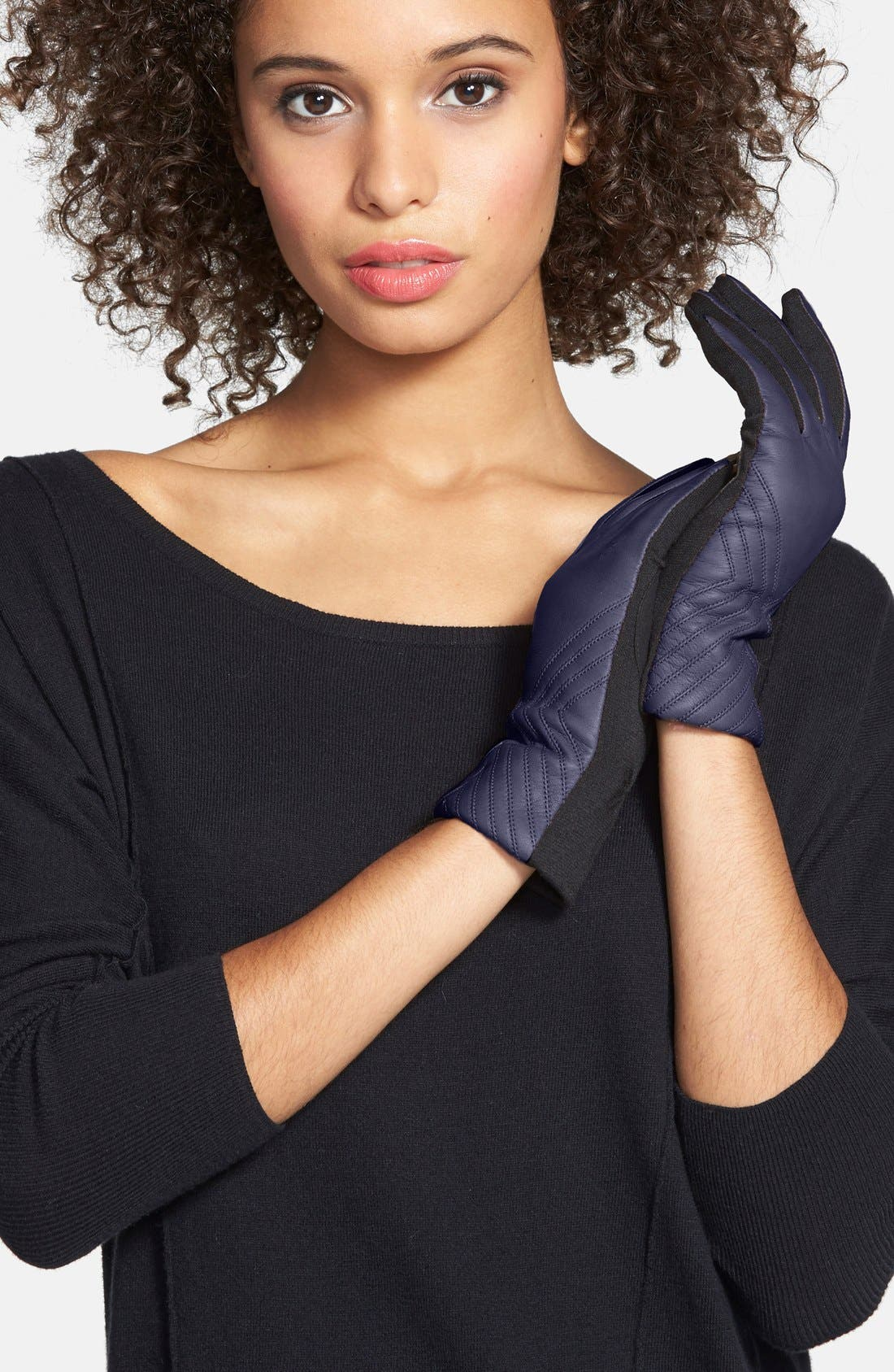 Alternate Image 2  - Fownes Brothers Tech Fingertip Leather & Knit Gloves
