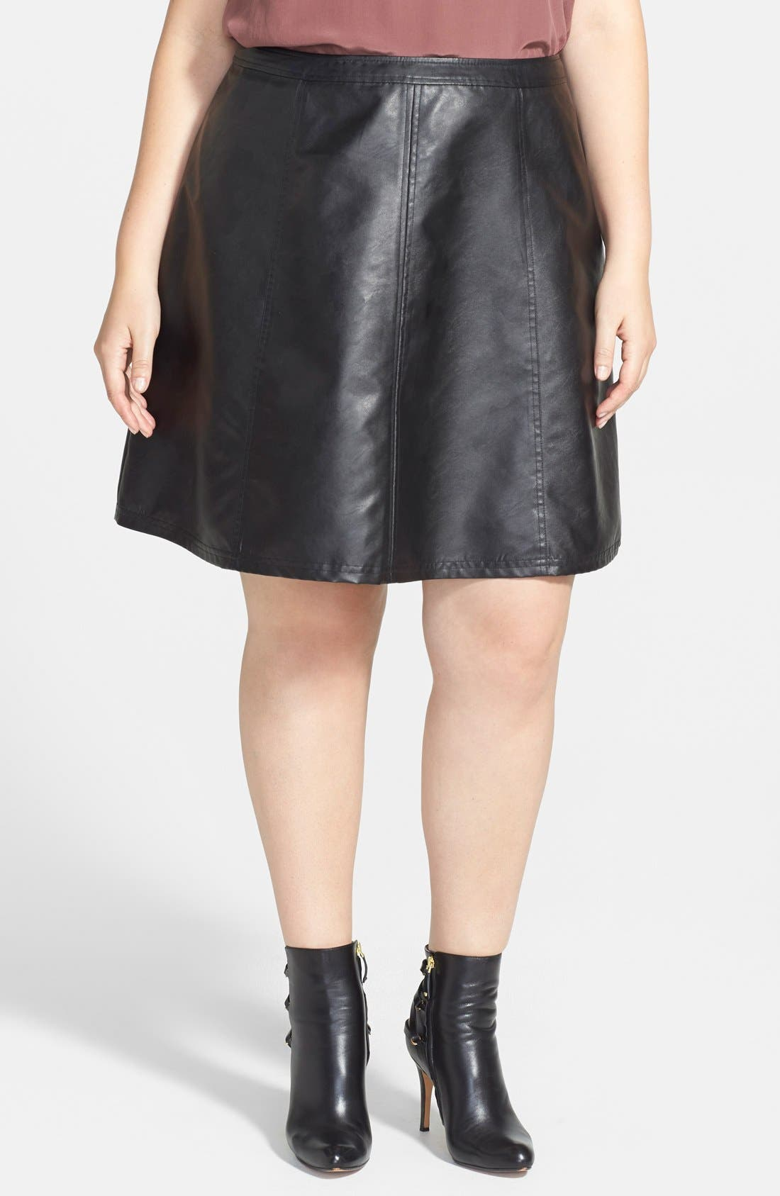 Alternate Image 1 Selected - Halogen® Faux Leather Circle Skirt (Plus Size)