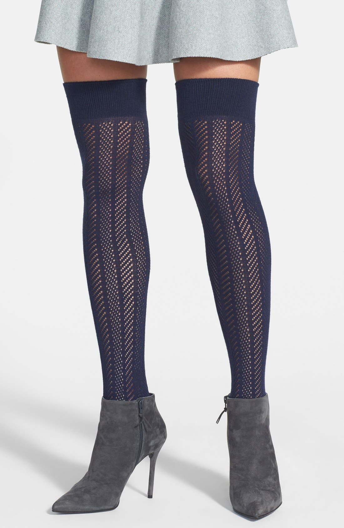 Alternate Image 2  - Vince Camuto Openwork Knit Thigh High Socks (Online Only)