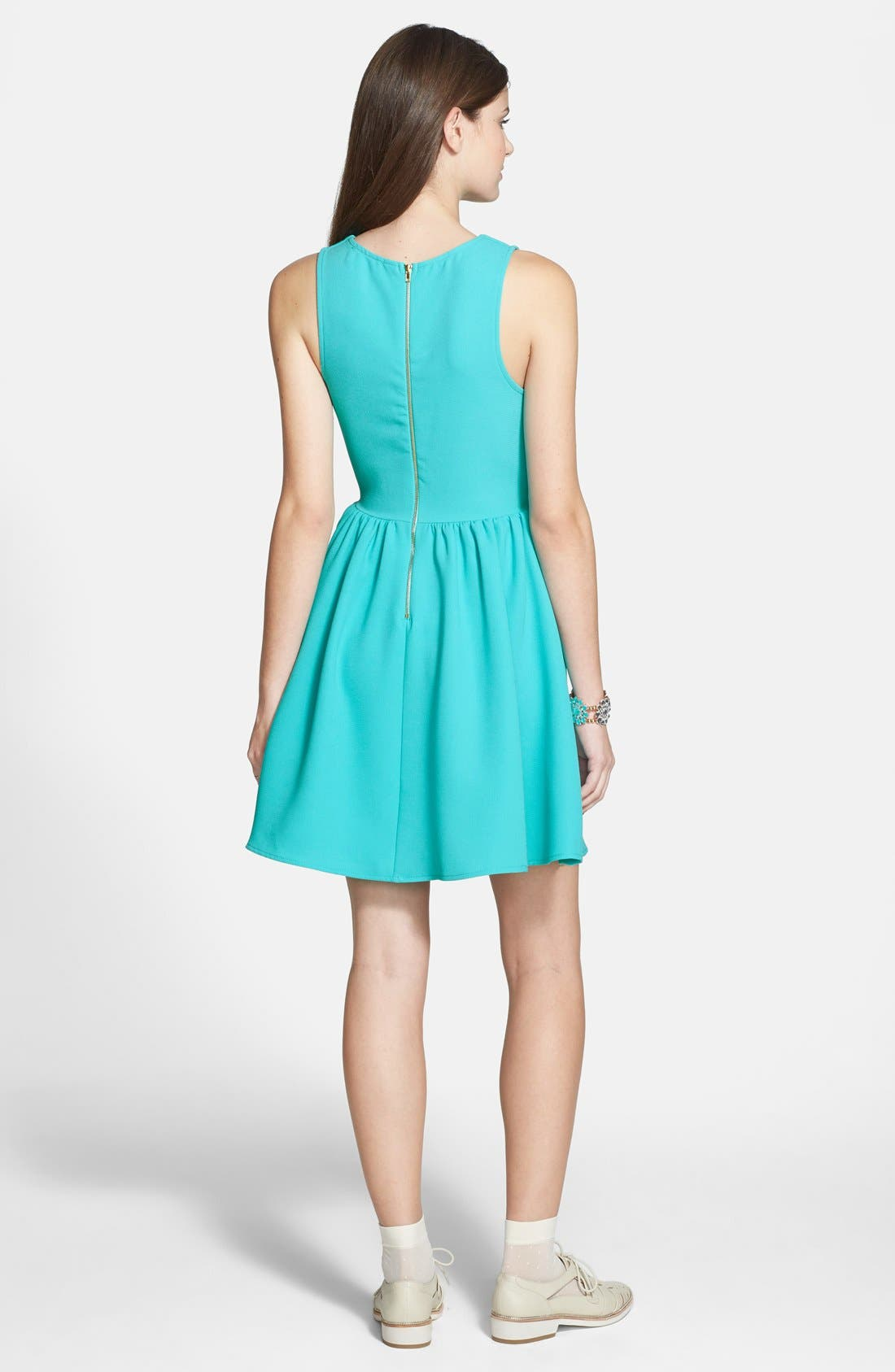 Alternate Image 2  - Everly Notch Neck Skater Dress (Juniors)